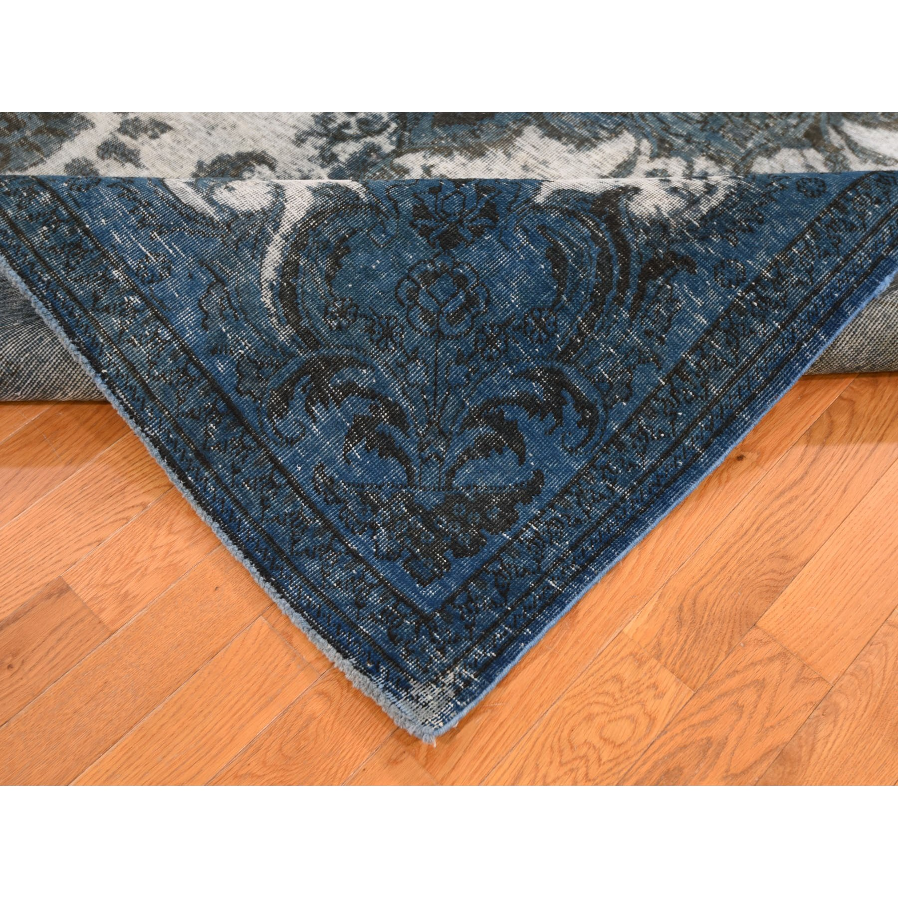 "6'5""x9' Navy Blue Overdyed Hand Knotted Persian Tabriz Barjasta Vintage Oriental Rug"