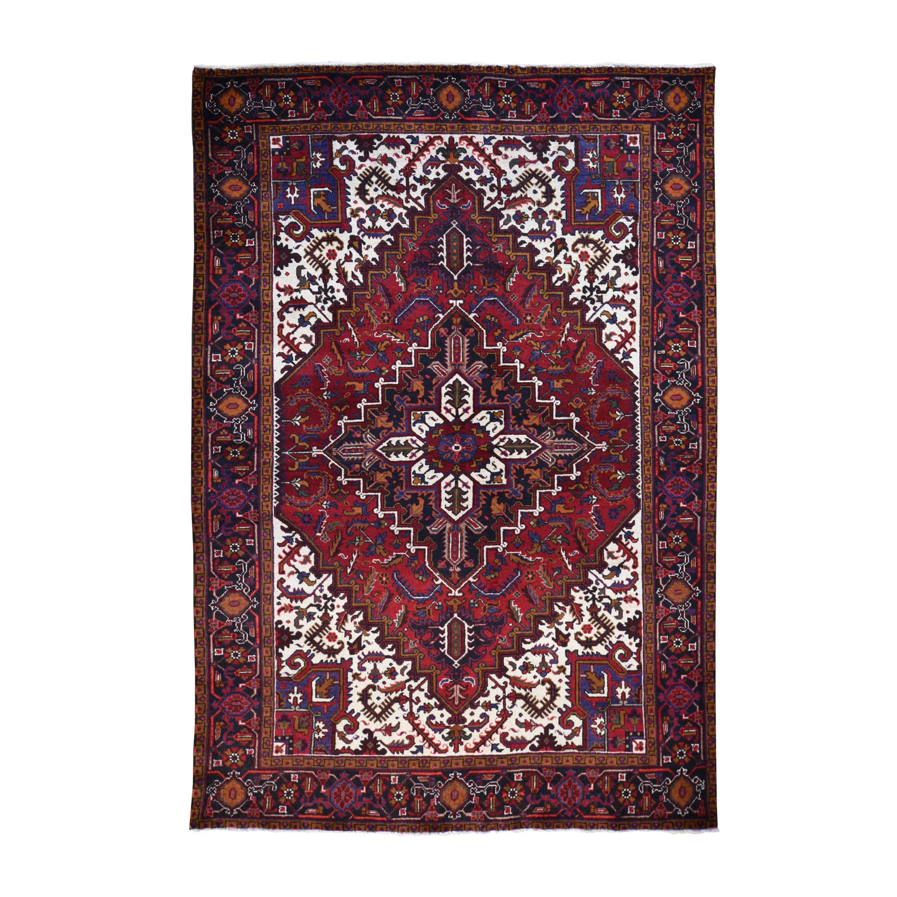 "6'8""X9'8"" Vintage Persian Heriz Full Pile Thick And Plush Geometric Design Hand Knotted Oriental Rug moad8de9"