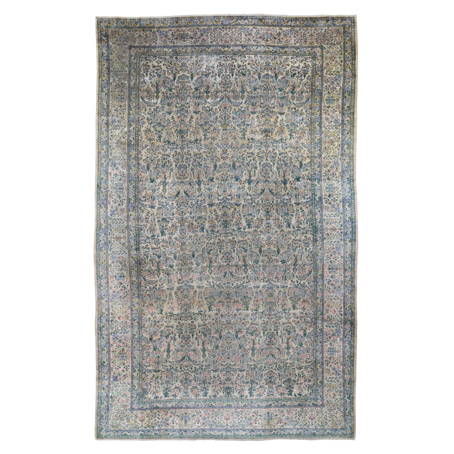 9'X16' Gallery Size Antique Persian Kerman Even Wear Hand Knotted Oriental Rug moad8d60
