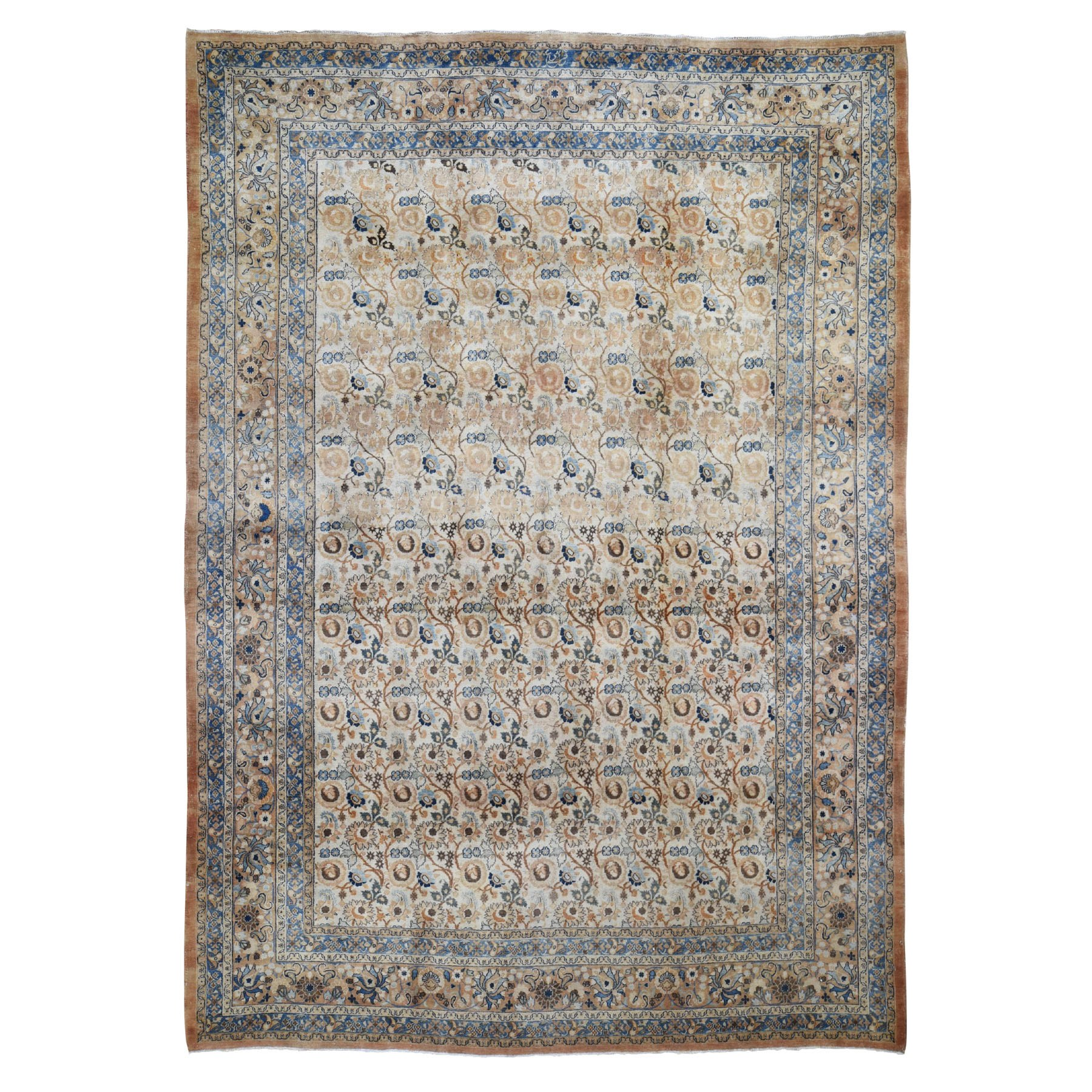 """8'6""""X12' Antique Persian Mashad With Abrush Full Pile Hand Knotted Oriental Rug moad8d6a"""