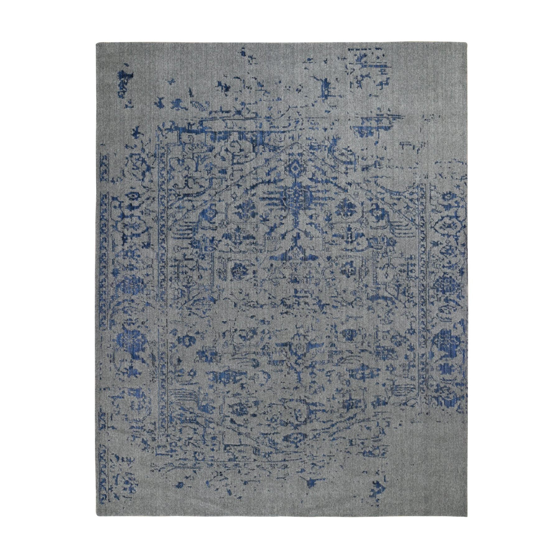 "7'10""X10' Jacquard Hand Loomed With Broken Persian Heriz Design Blue Oriental Rug moad8d6b"