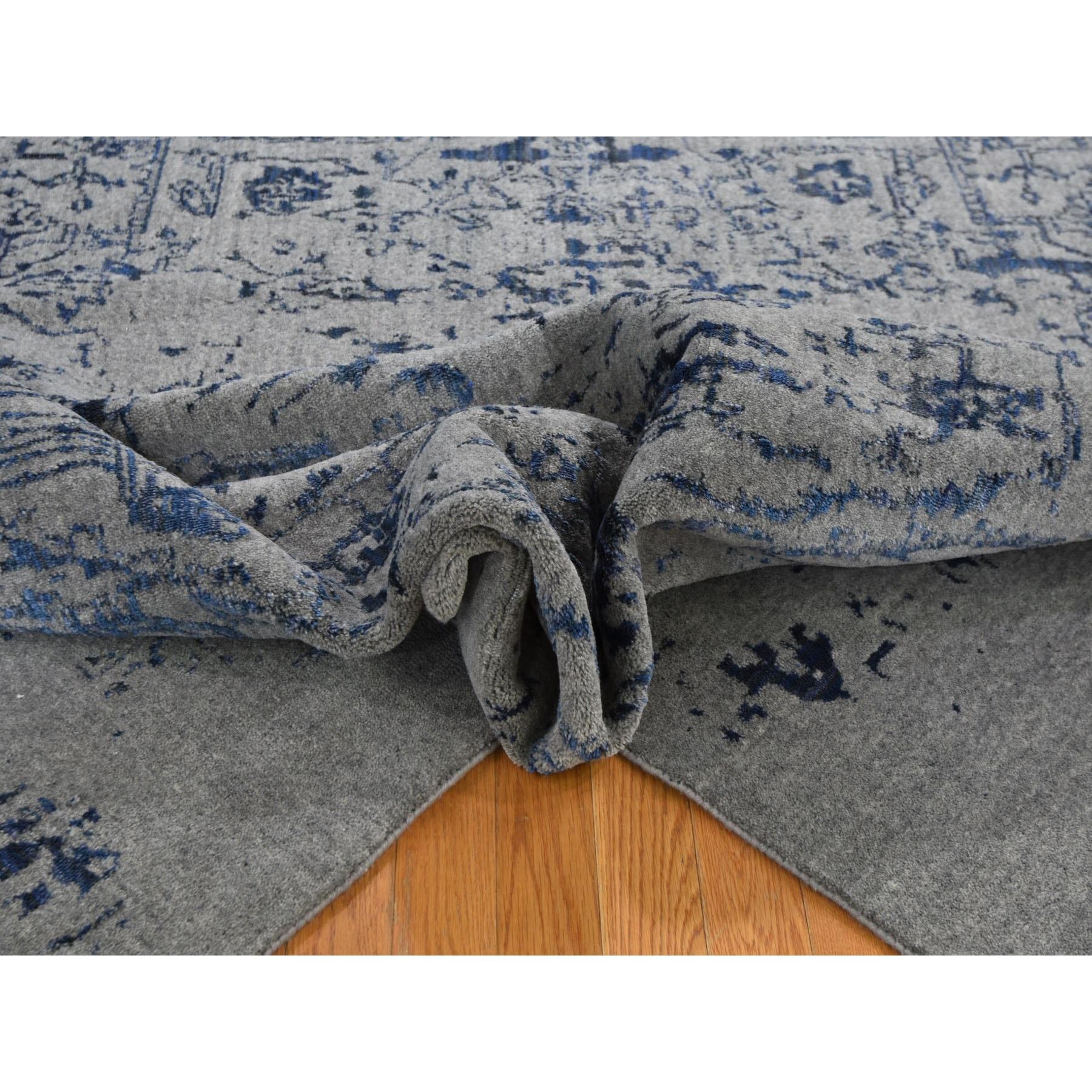 7-10 x10- jacquard Hand Loomed With Broken Persian Heriz Design Blue Oriental Rug
