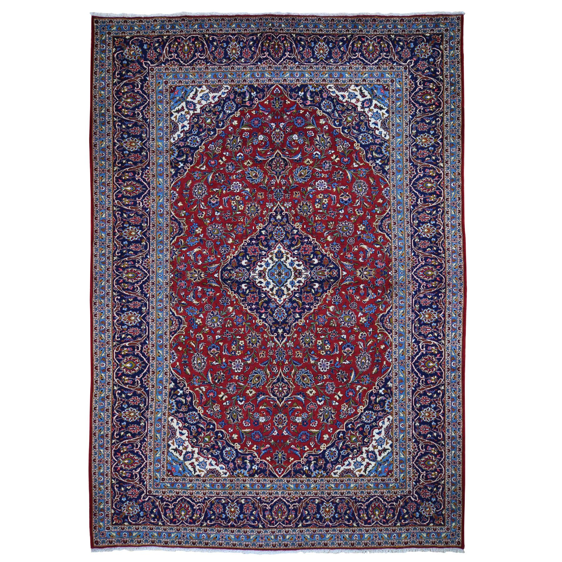 """9'6""""x13'7"""" Red Semi Antique Signed Persian Kashan Full Pile Hand Knotted Oriental Rug 48466"""