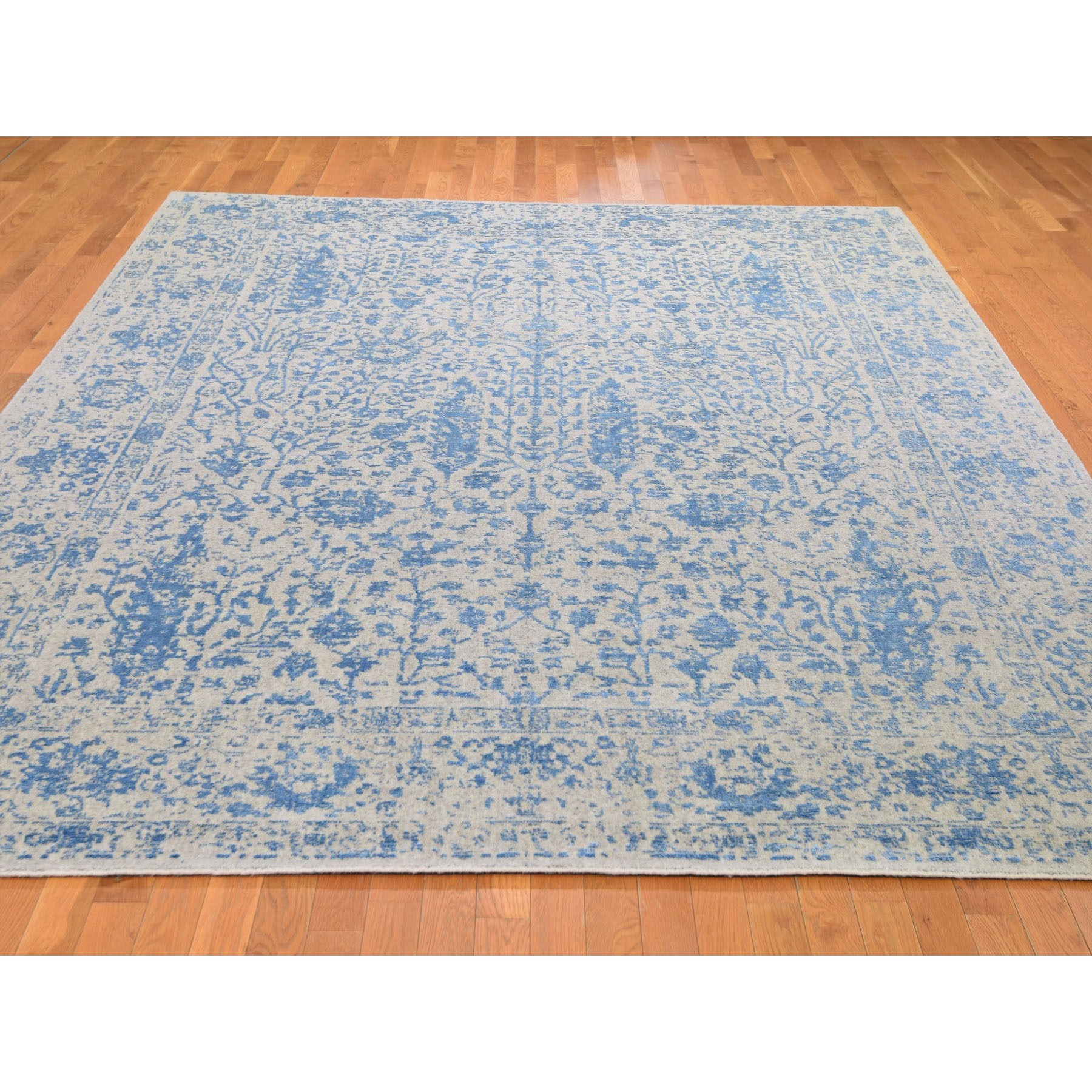 9-x12-3  Gray Broken Cypress Tree Design Wool And Silk Thick Hand-Loomed Oriental Rug