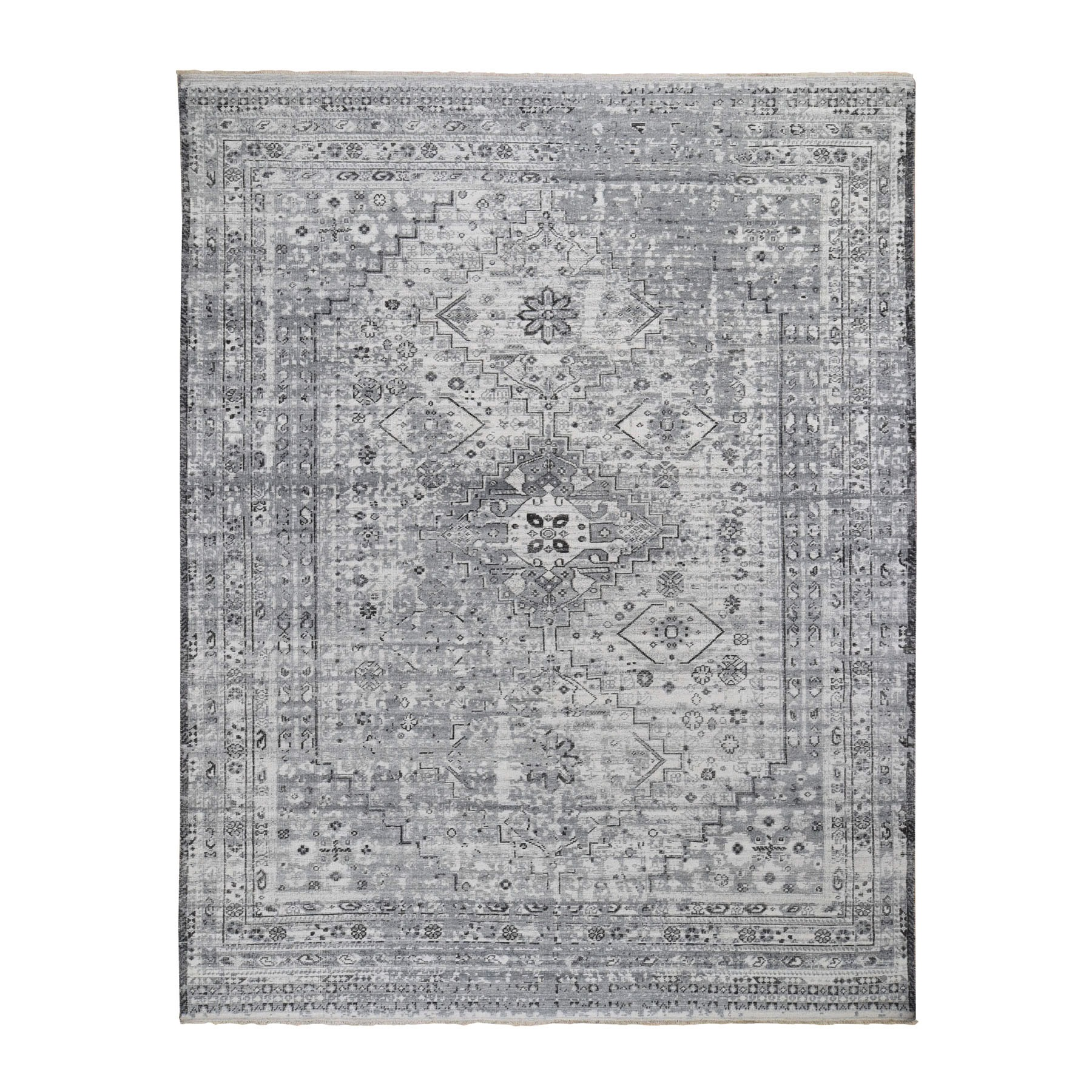 "8'X10'3"" Gray Erased And Distressed Textured Pure Wool Shiraz  Hand Knotted Oriental Rug moad8d70"