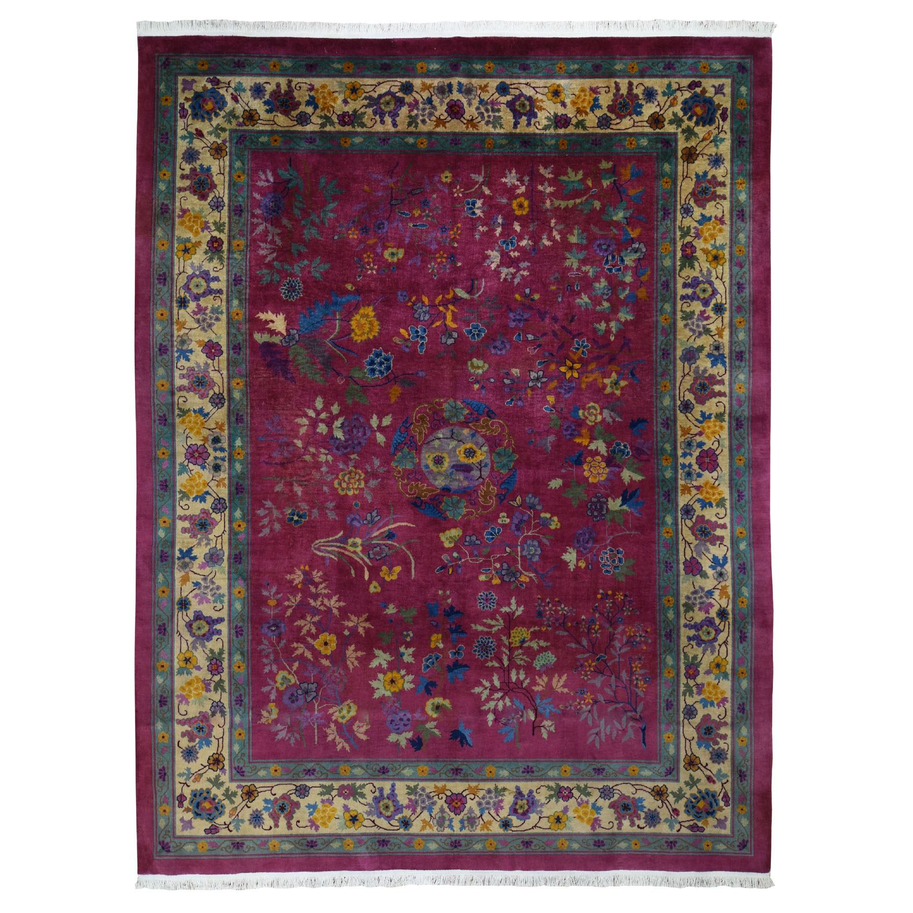 "9'x11'8"" Beet Red Antique Chinese Art Deco Good Condition Clean Hand Knotted Oriental Rug"