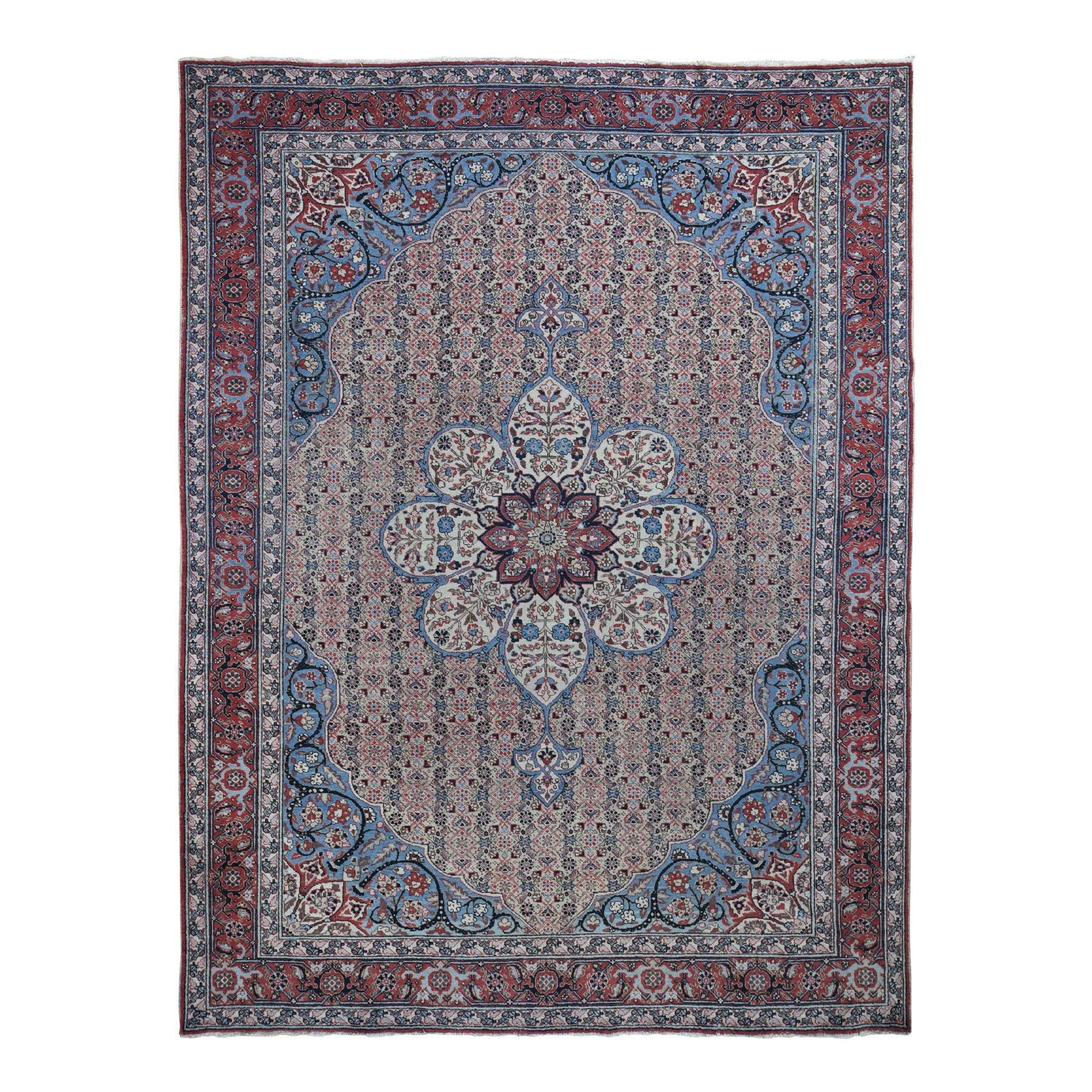 8'X11' Antique Persian Tabriz Flower Design Even Wear Good Condition Hand Knotted Oriental Rug moad8d7c