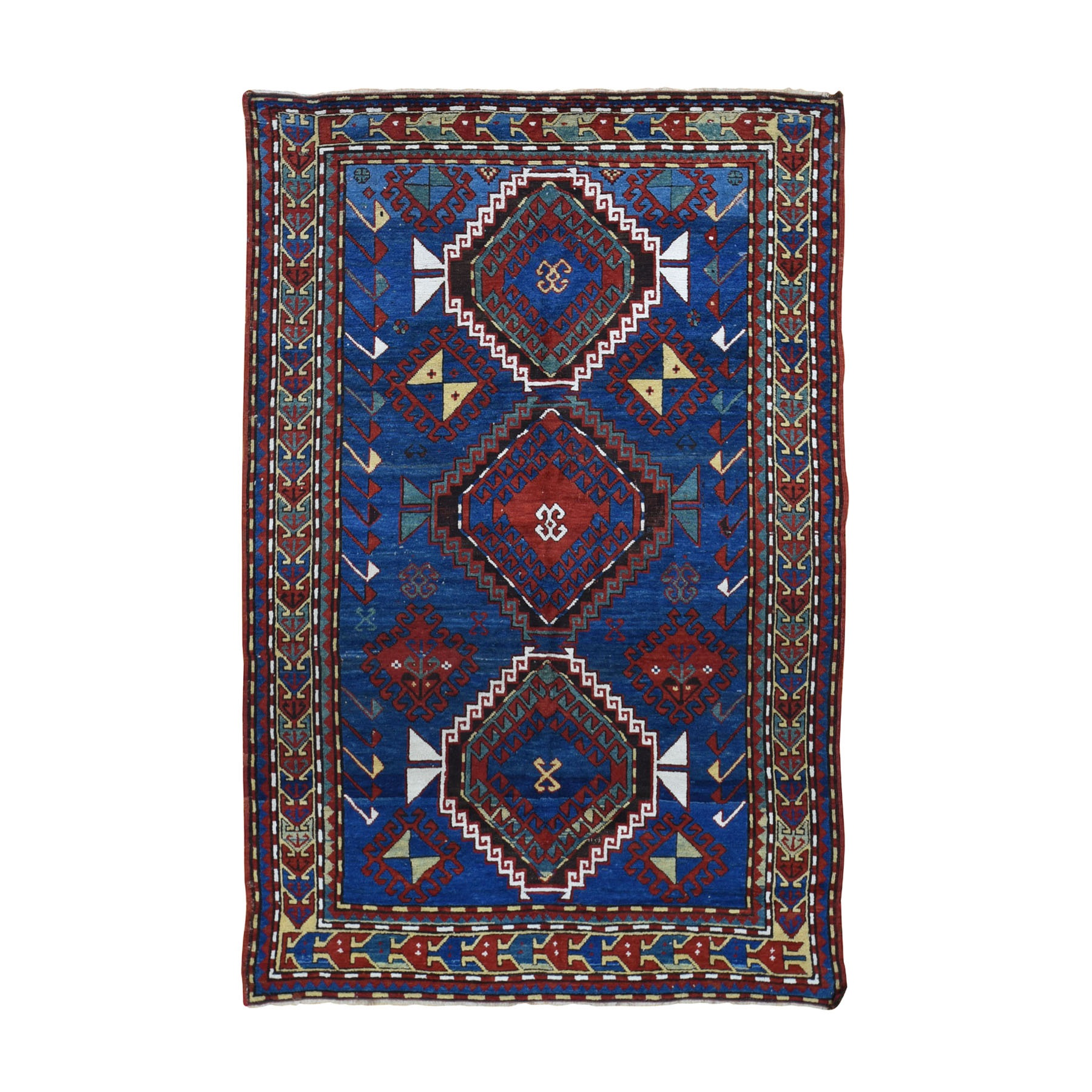 "4'9""X7'1"" Blue Antique Caucasian Kazak Exc Condition Hand Knotted Oriental Rug moad8d79"