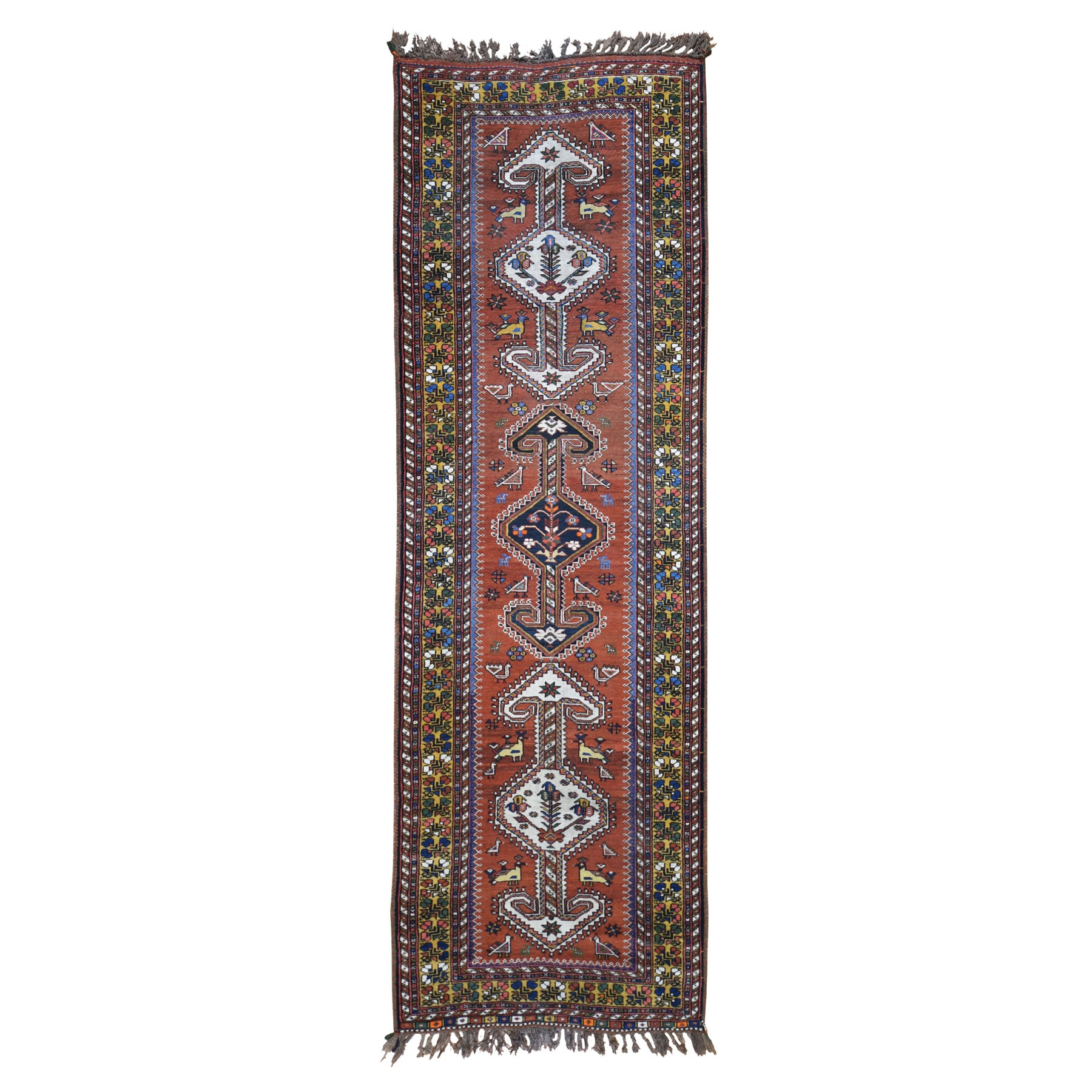 "3'9""X9'10"" Rust Vintage Persian Kashkui Wide Runner Hand Knotted Oriental Rug moad8d8a"