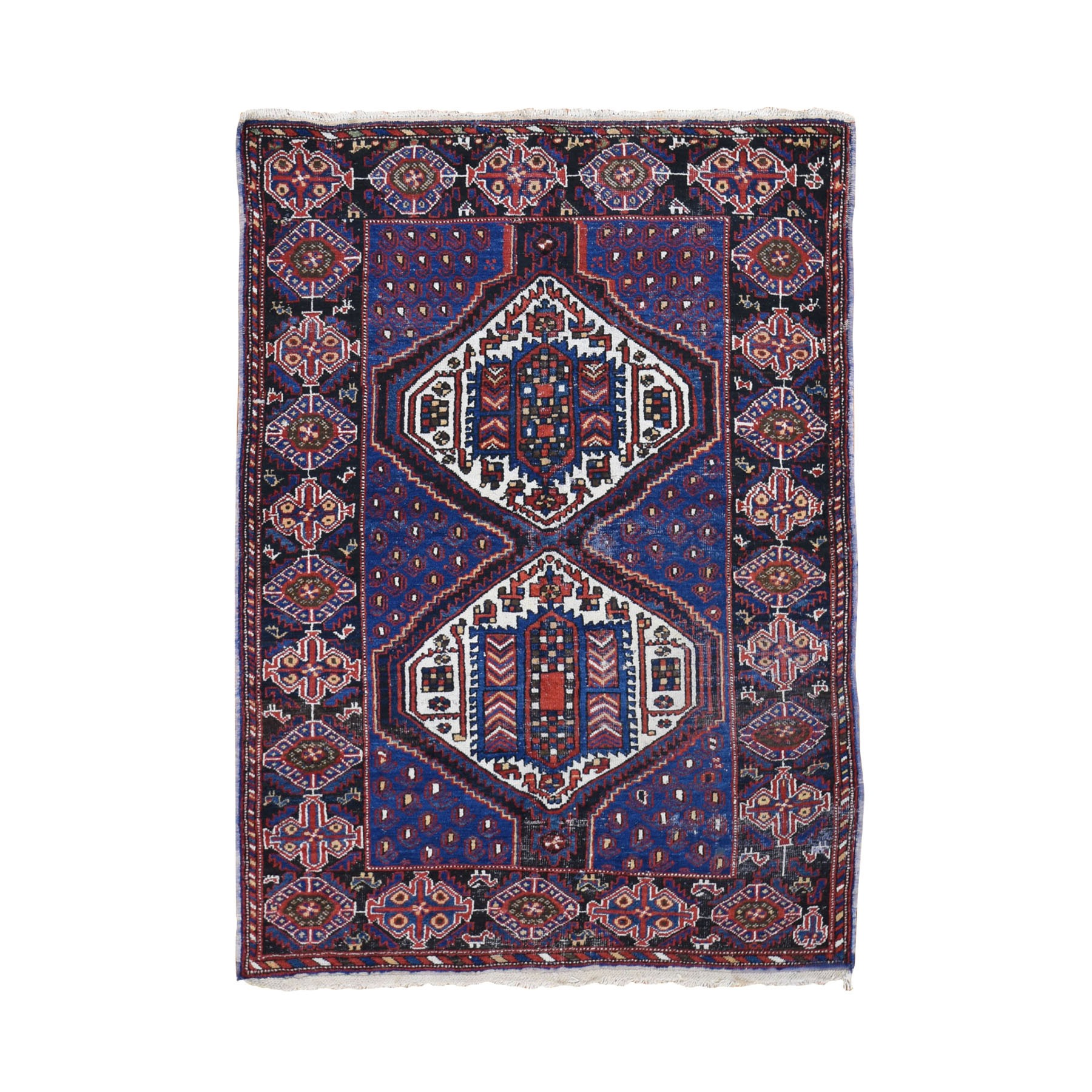 "4'2""X6'1"" Blue Antique Persian Afshar Even Wear Hand Knotted Oriental Rug moad8d8b"