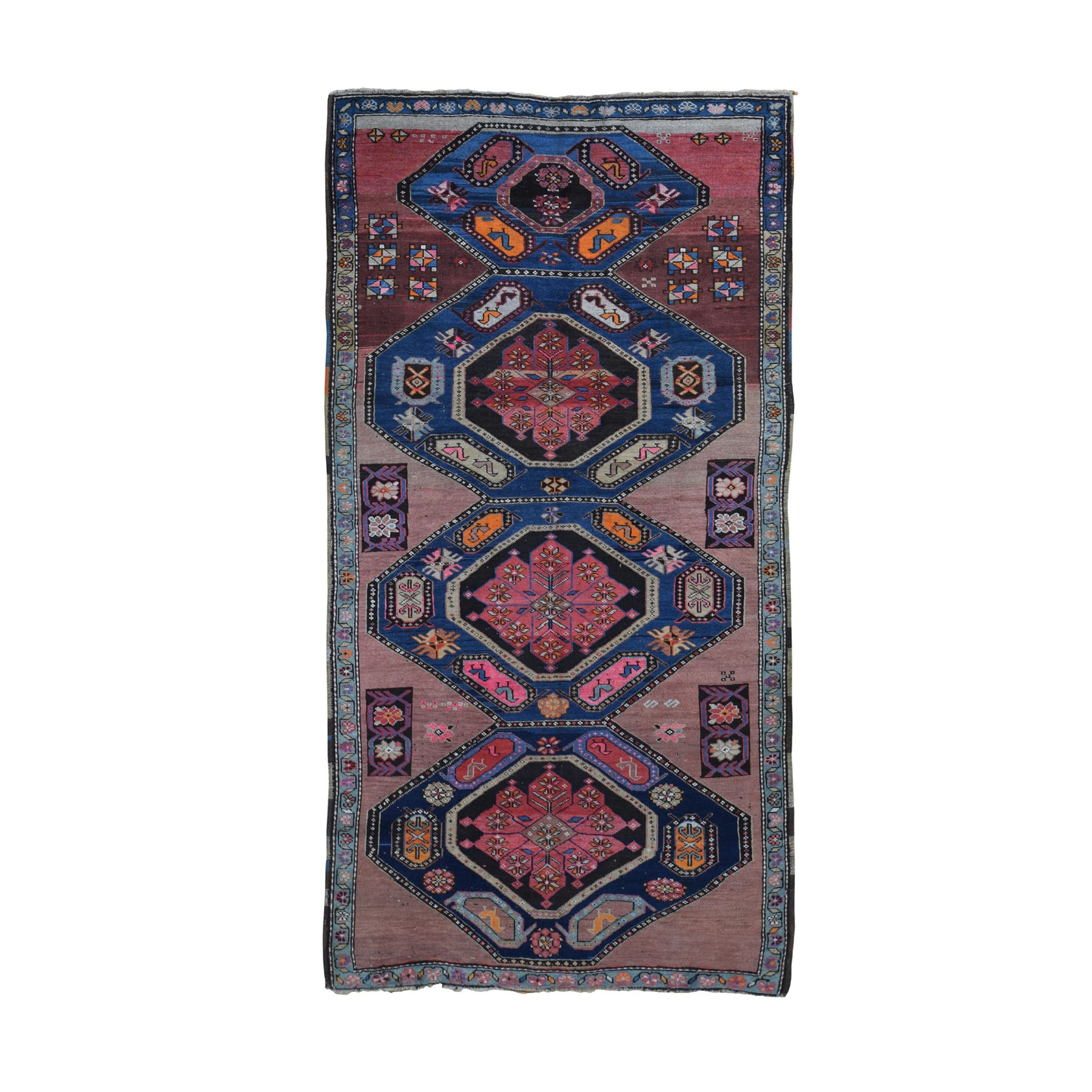 "4'4""X8'6"" Antique Caucasian Karabakh Good Condition Hand Knotted Oriental Rug moad8d8c"