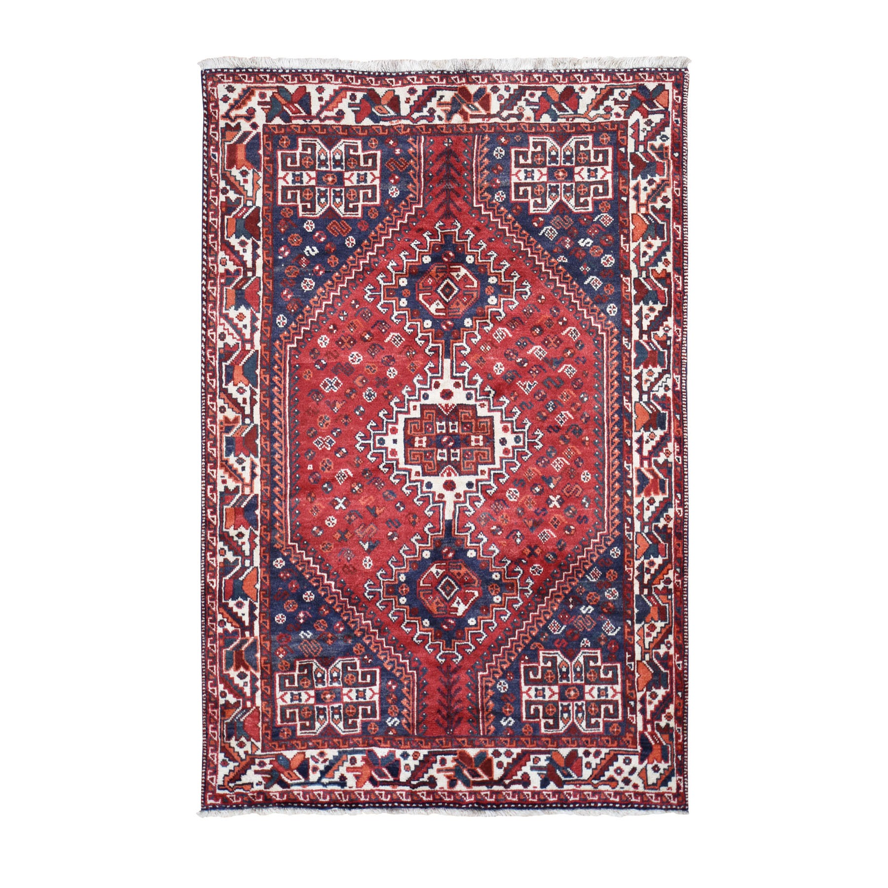 5-6 x8-4  Red New persian Shiraz Pure Wool Hand Knotted Oriental Rug