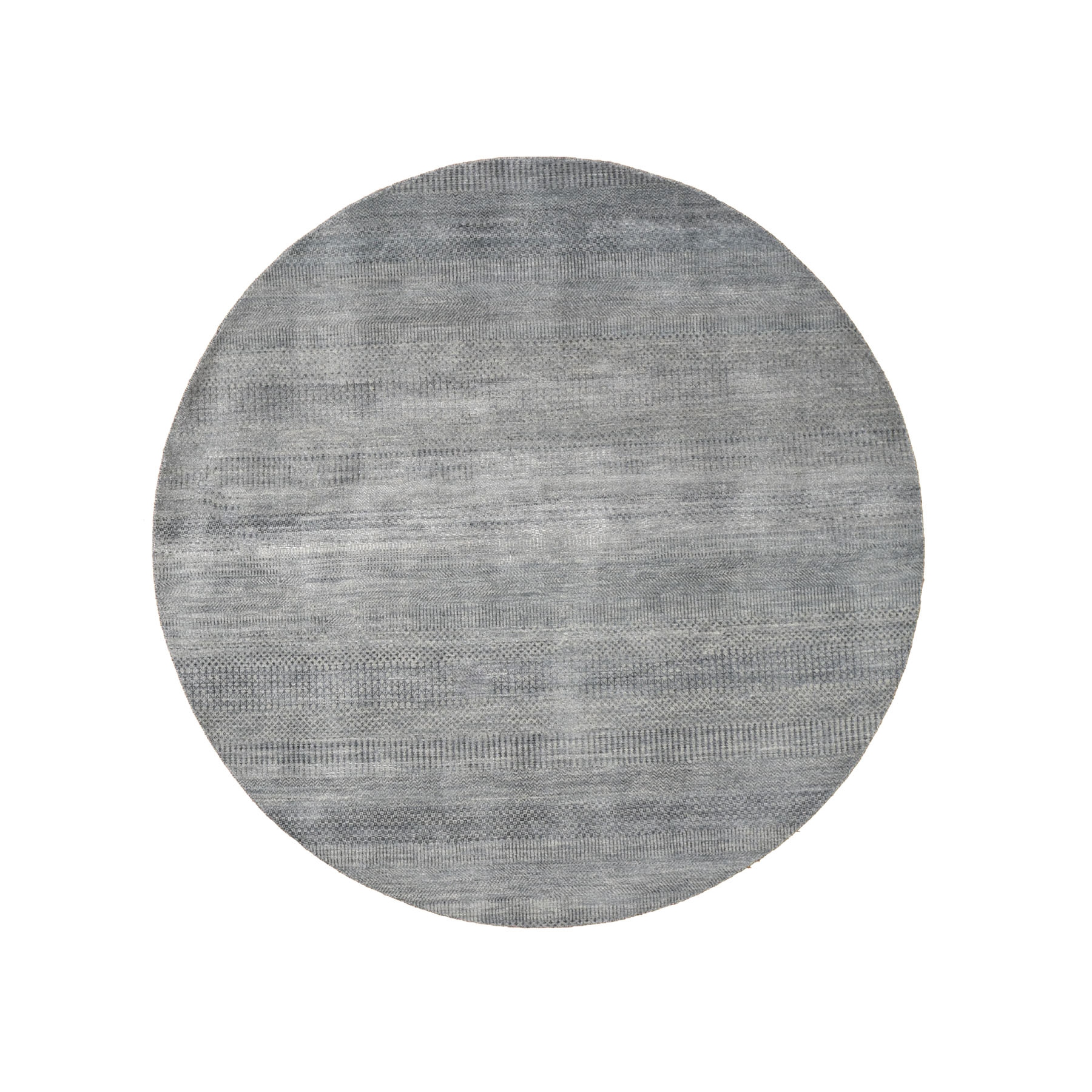 6'x6' Round Gray Grass Design Wool And Silk Hand Knotted Oriental Rug 48489