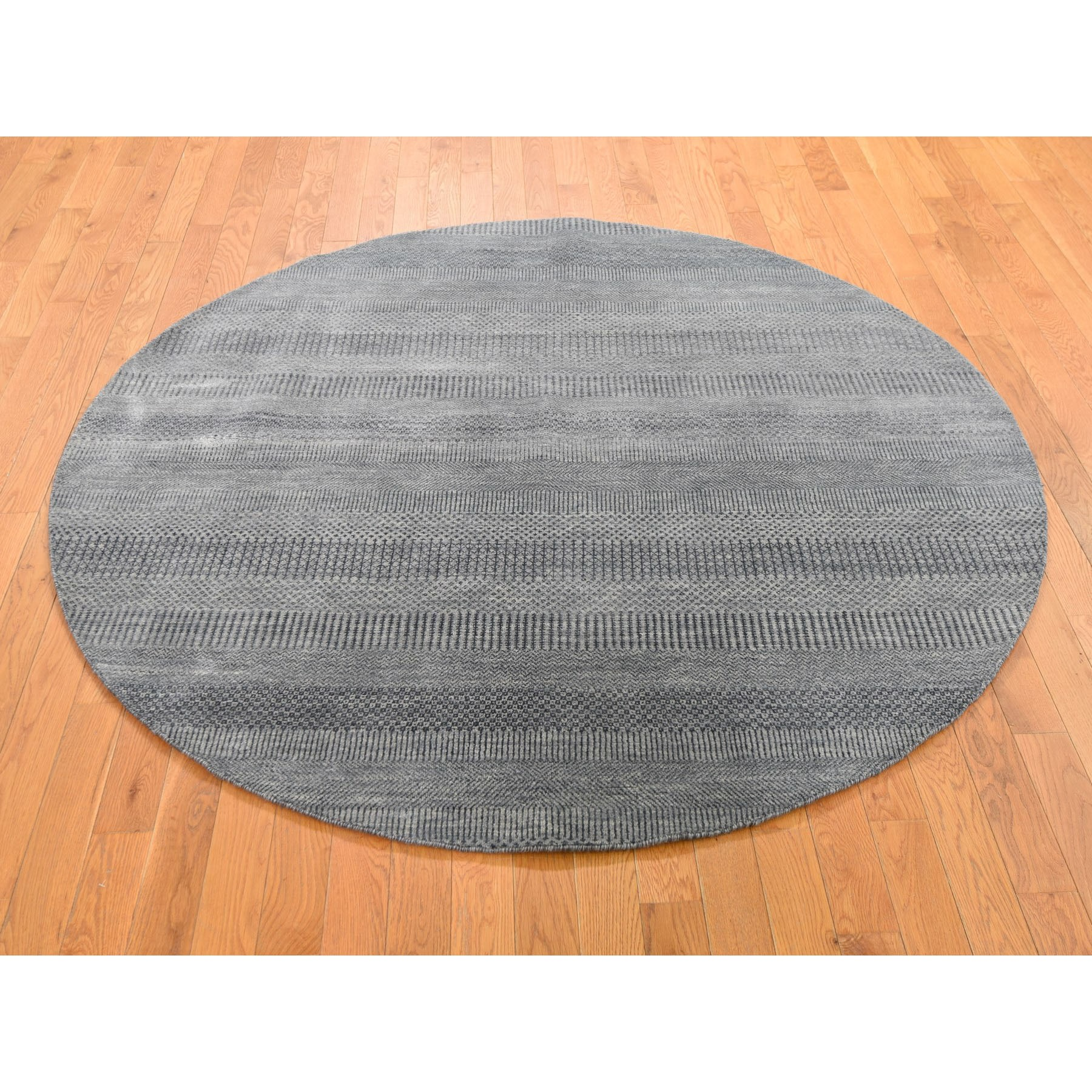 6 X6 Round Gray Grass Design Wool And Silk Hand Knotted Oriental Rug
