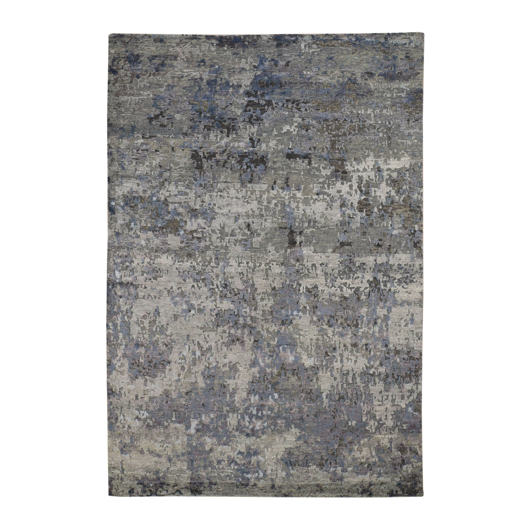 "6'x8'10"" Hi-Low Pile Abstract Design Wool And Silk Hand Knotted Oriental Rug"