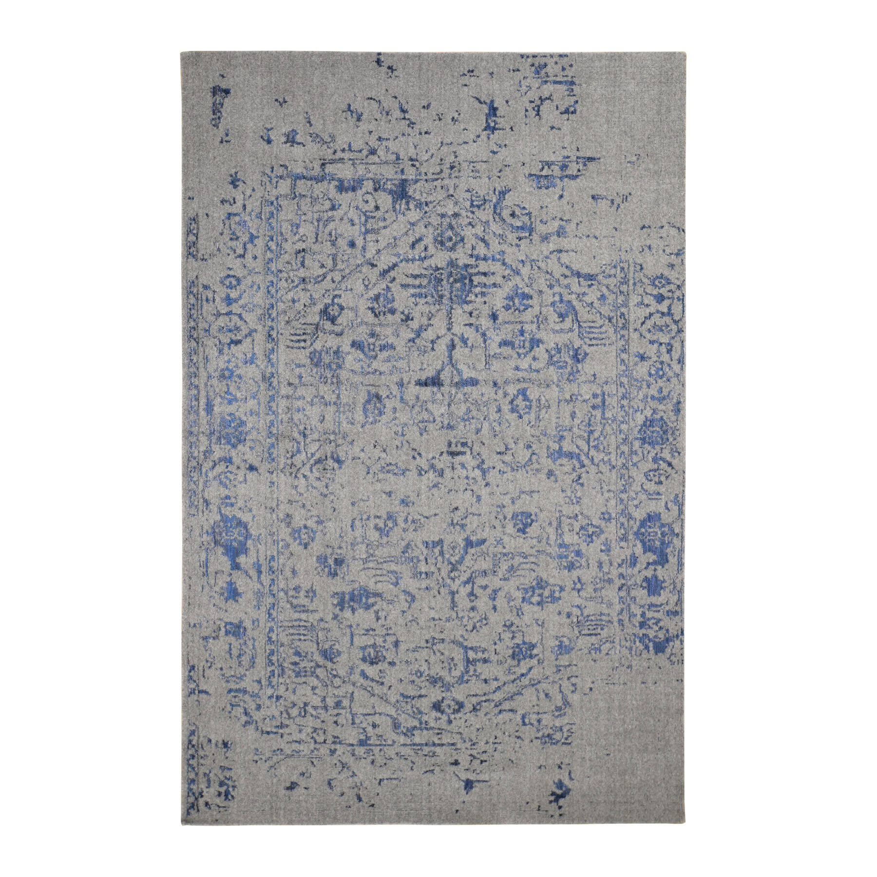 6'X9' Jacquard Hand Loomed With Broken Persian Heriz Design Blue Oriental Rug moad8d96