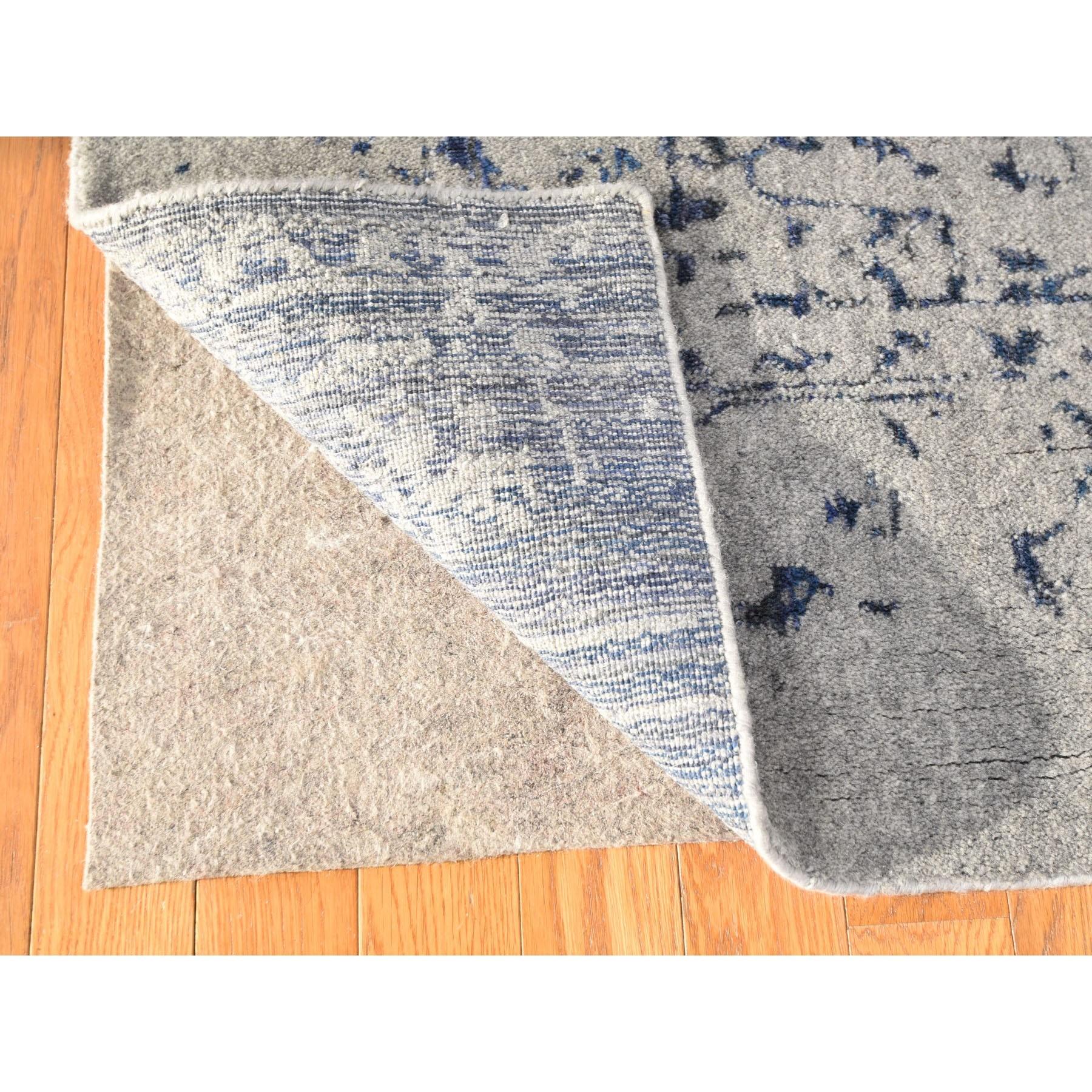 6'x9' jacquard Hand Loomed With Broken Persian Heriz Design Blue Oriental Rug