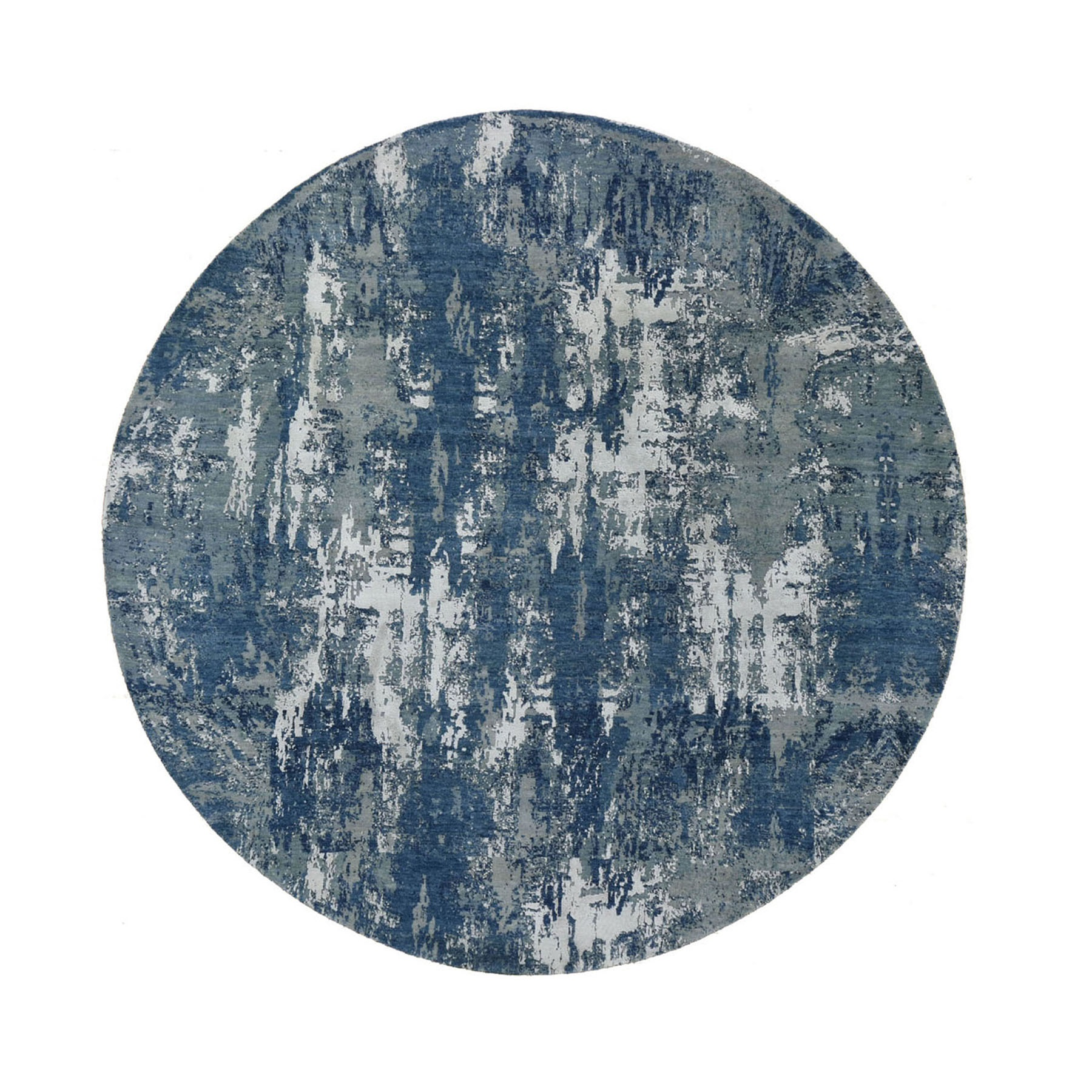 "8'1""X8'1"" Blue Abstract Design Wool And Pure Silk Hand Knotted Round Oriental Rug moad8d97"