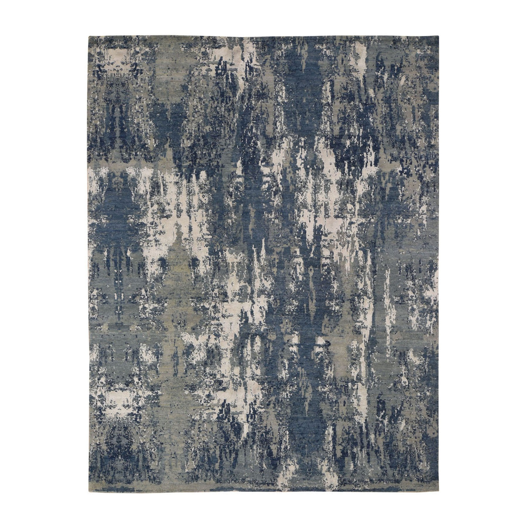 """8'X10'3"""" Blue Abstract Design Wool And Pure Silk Hand Knotted Oriental Rug moad8d98"""