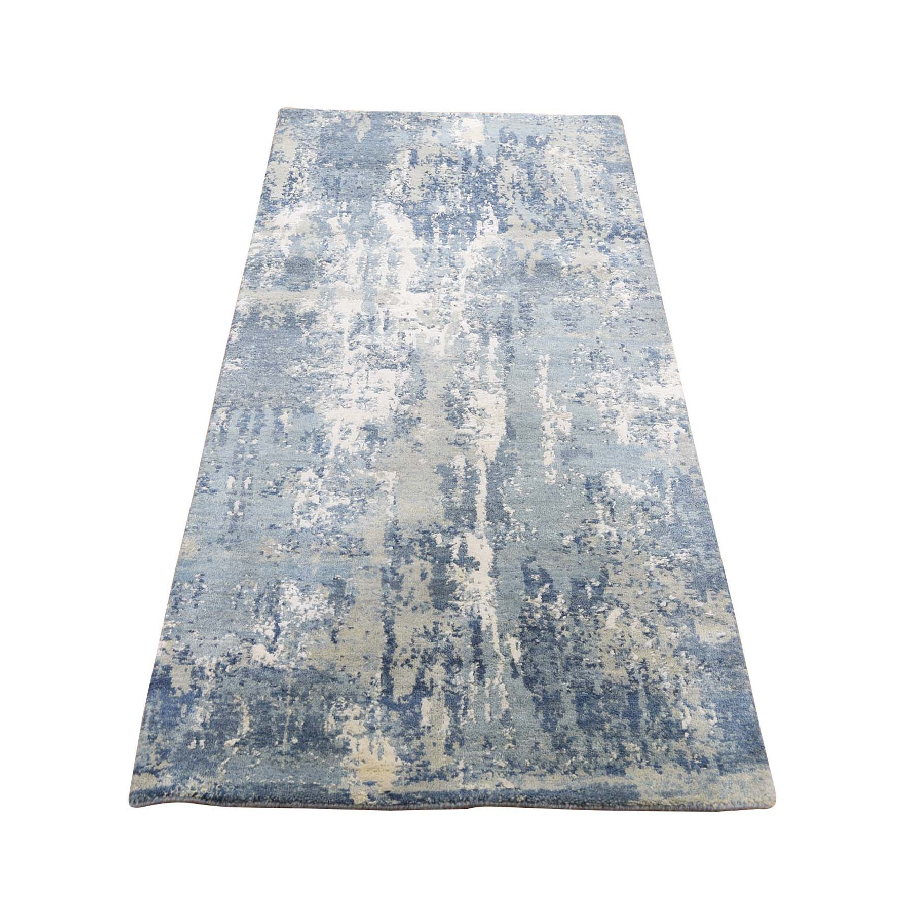 """2'6""""X6'3"""" Blue Abstract Design Wool And Pure Silk Hand Knotted Runner Oriental Rug moad8e00"""