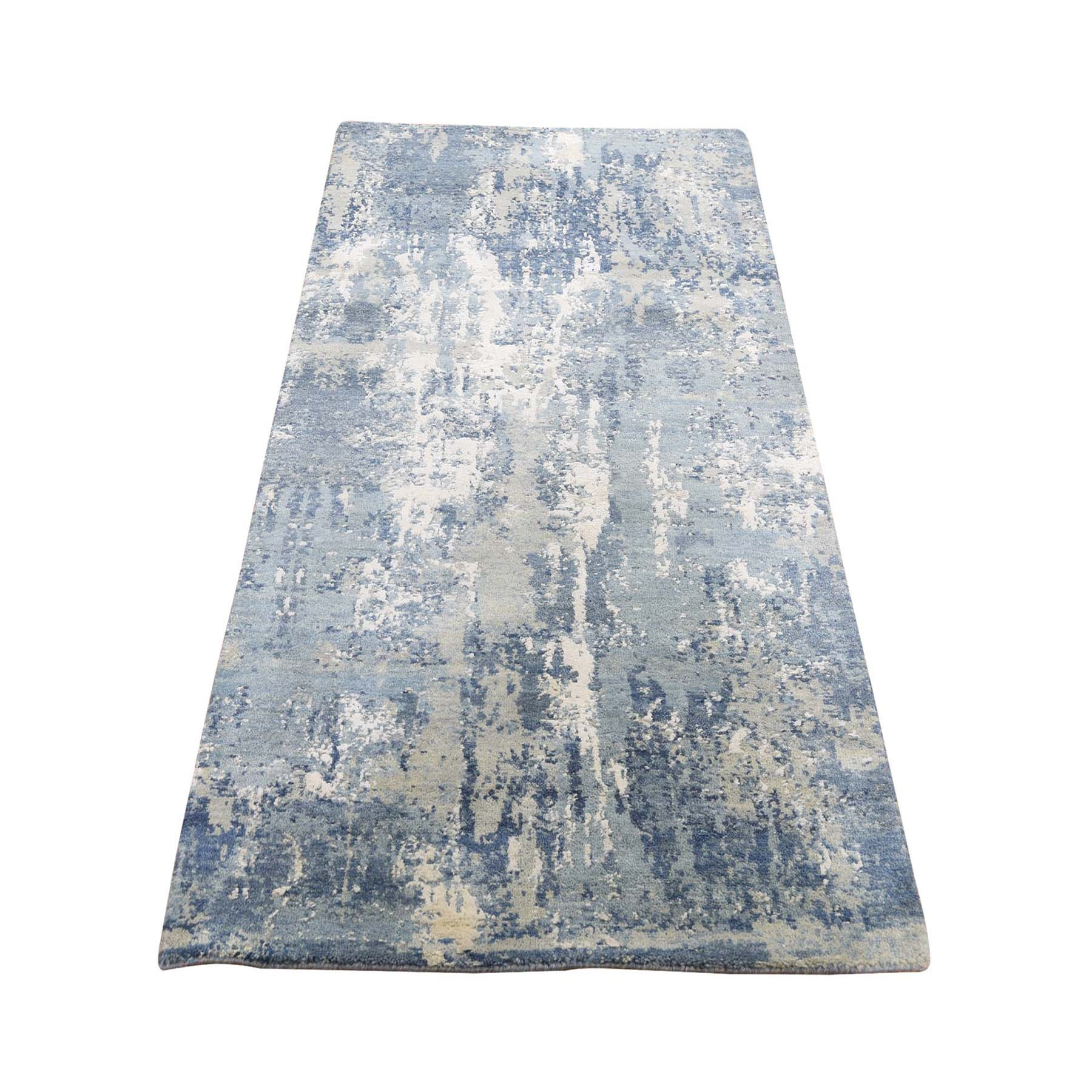 """2'6""""X6'2"""" Blue Abstract Design Wool & Pure Silk Hand Knotted Runner Oriental Rug moad8e0a"""