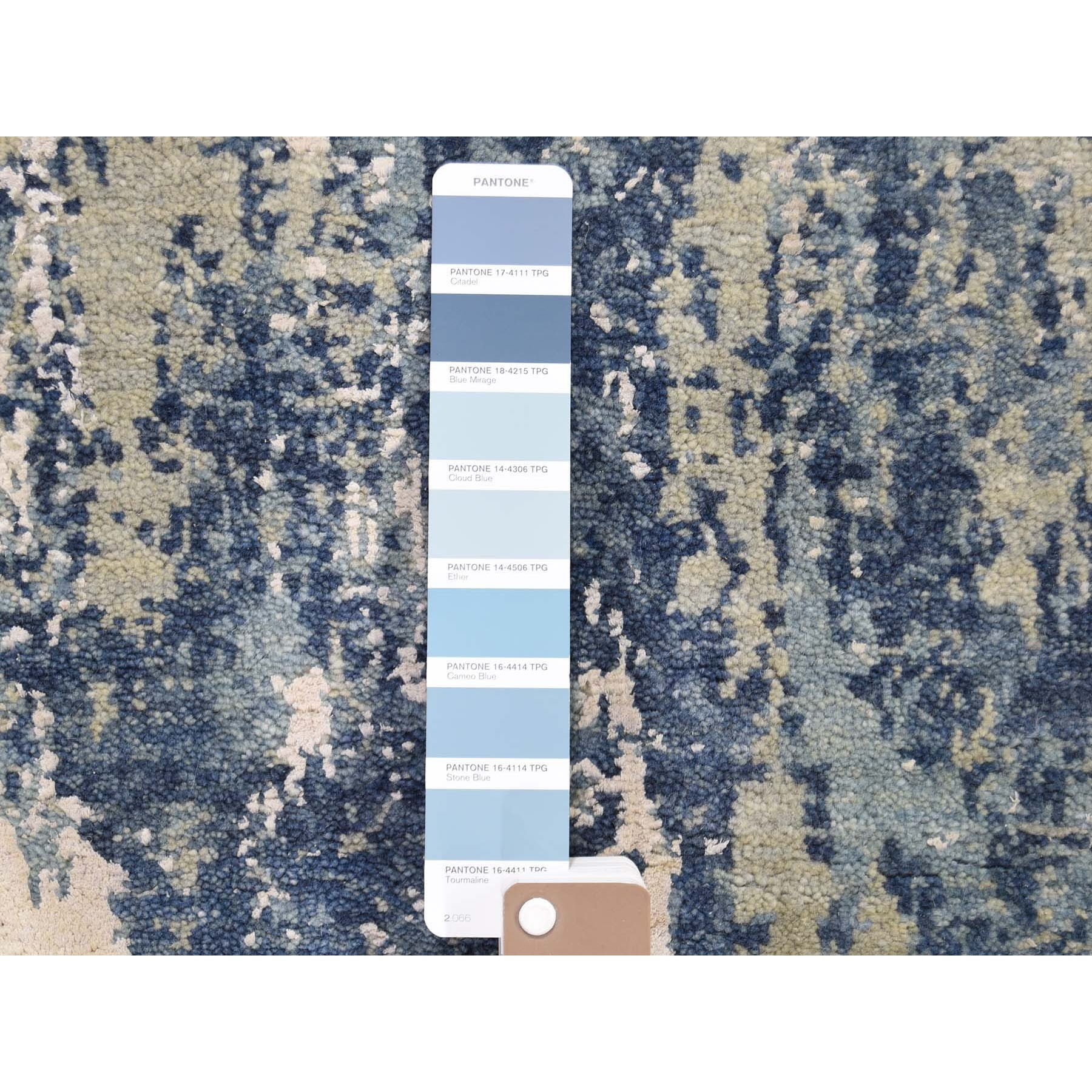 2-6 x6-2  Blue Abstract Design Wool & Pure Silk Hand Knotted Runner Oriental Rug