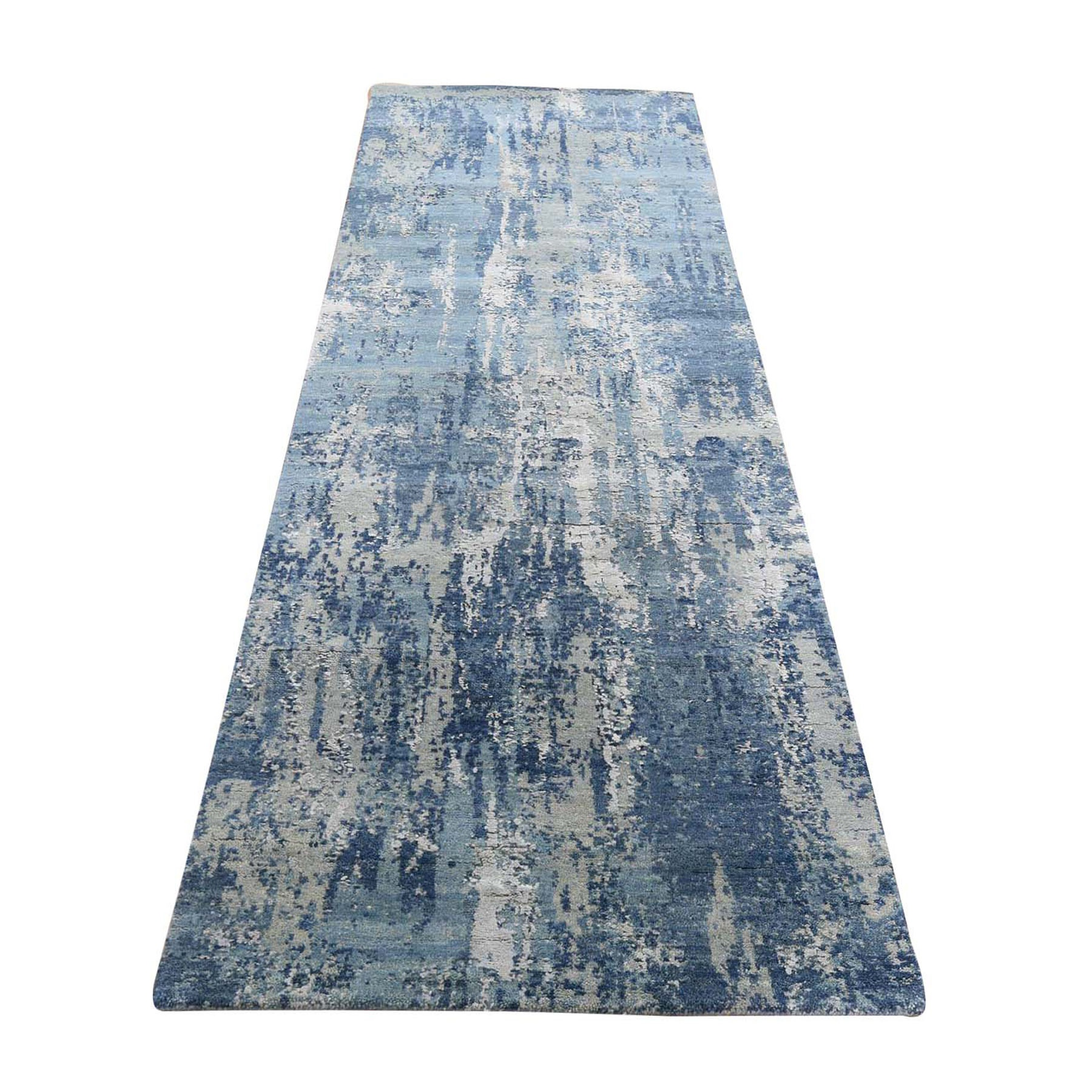 """2'6""""X8'3"""" Blue Abstract Design Wool And Pure Silk Hand Knotted Runner Oriental Rug moad8e0b"""