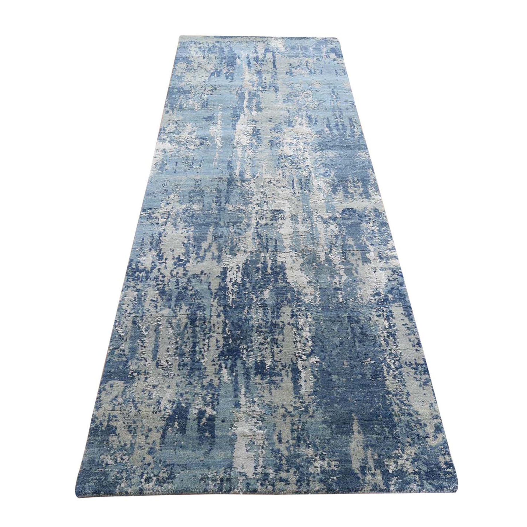 """2'6""""X8'1"""" Blue Abstract Design Wool And Pure Silk Hand Knotted Oriental Runner Rug moad8e0c"""