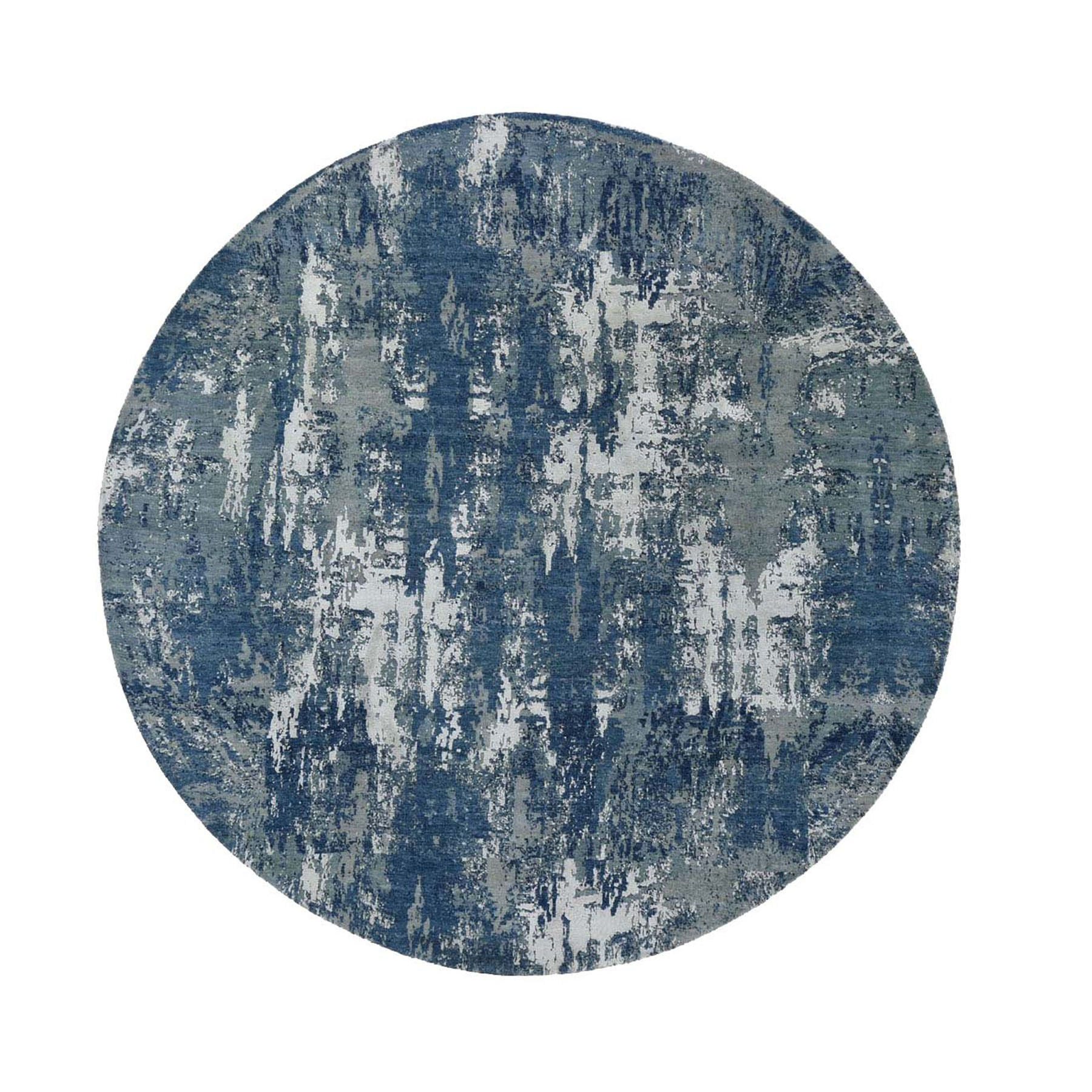 10'X10' Blue Abstract Design Wool And Pure Silk Hand Knotted Round Oriental Rug moad8e0d