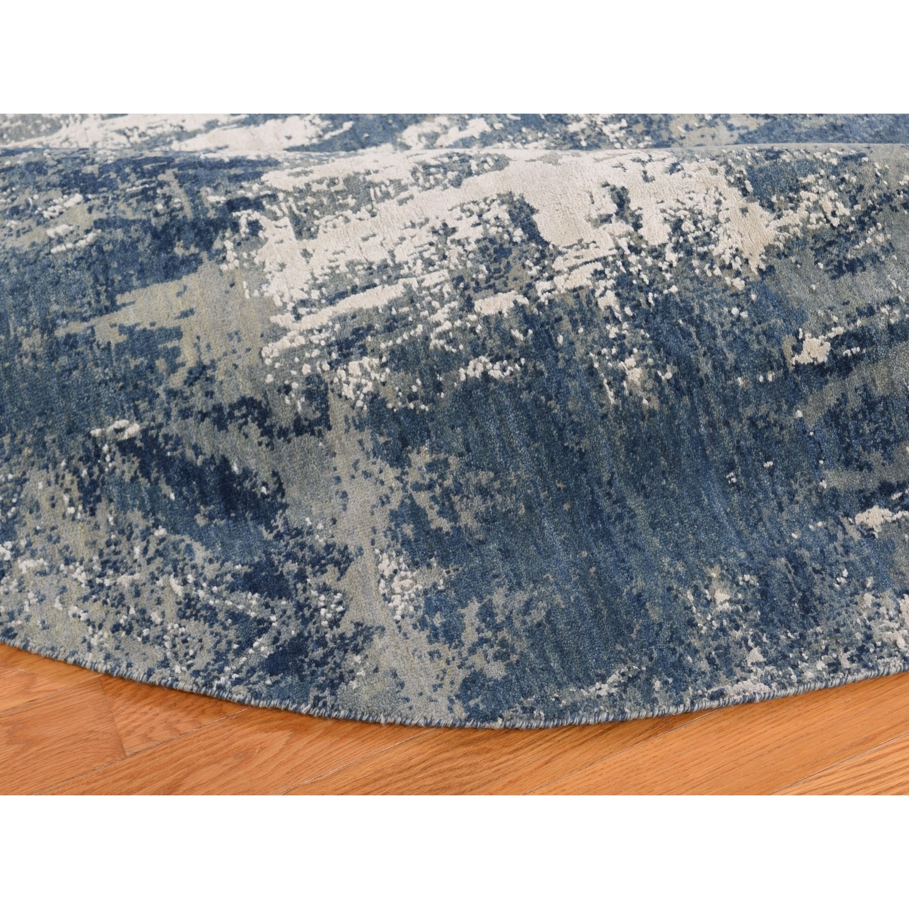 10-x10- Blue Abstract Design Wool and Pure Silk Hand Knotted Round Oriental Rug