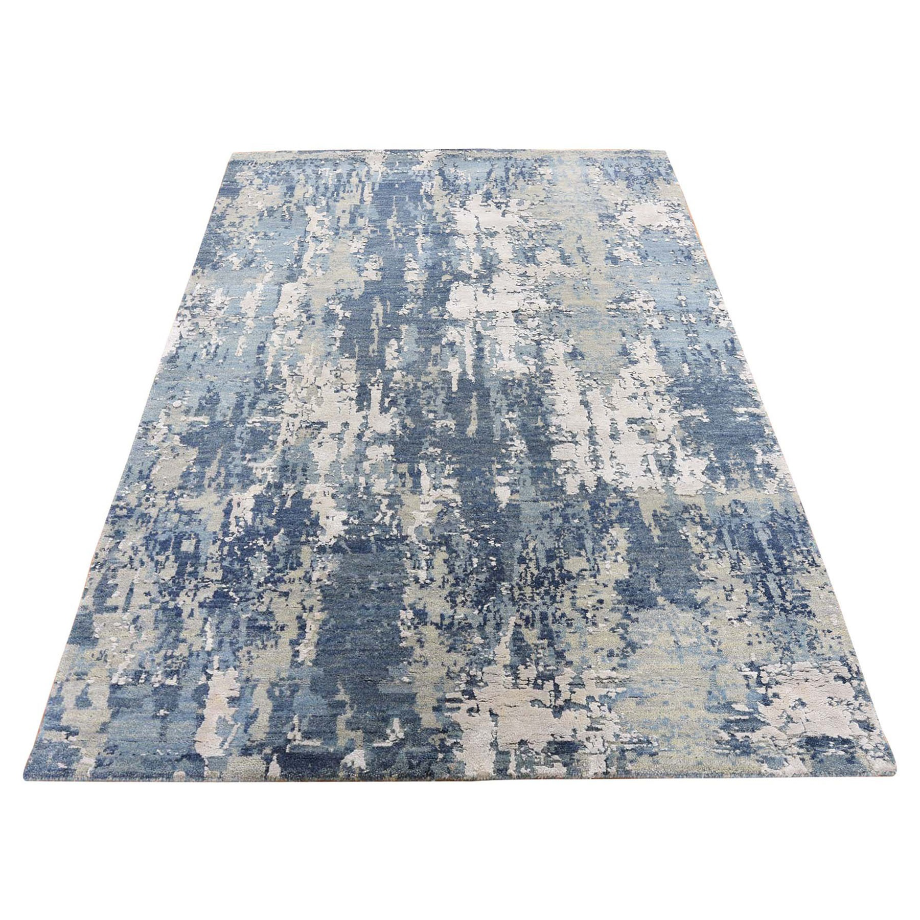 """4'X6'4"""" Blue Abstract Design Wool And Pure Silk Hand Knotted Oriental Rug moad8e0e"""
