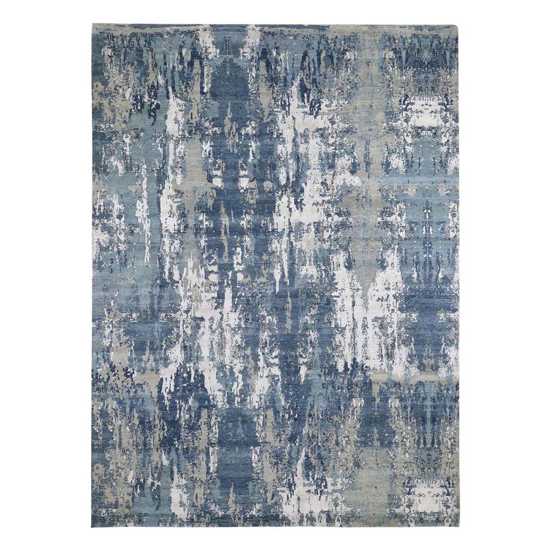 """9'X12'4"""" Blue Abstract Design Wool And Pure Silk Hand Knotted Oriental Rug moad8e06"""