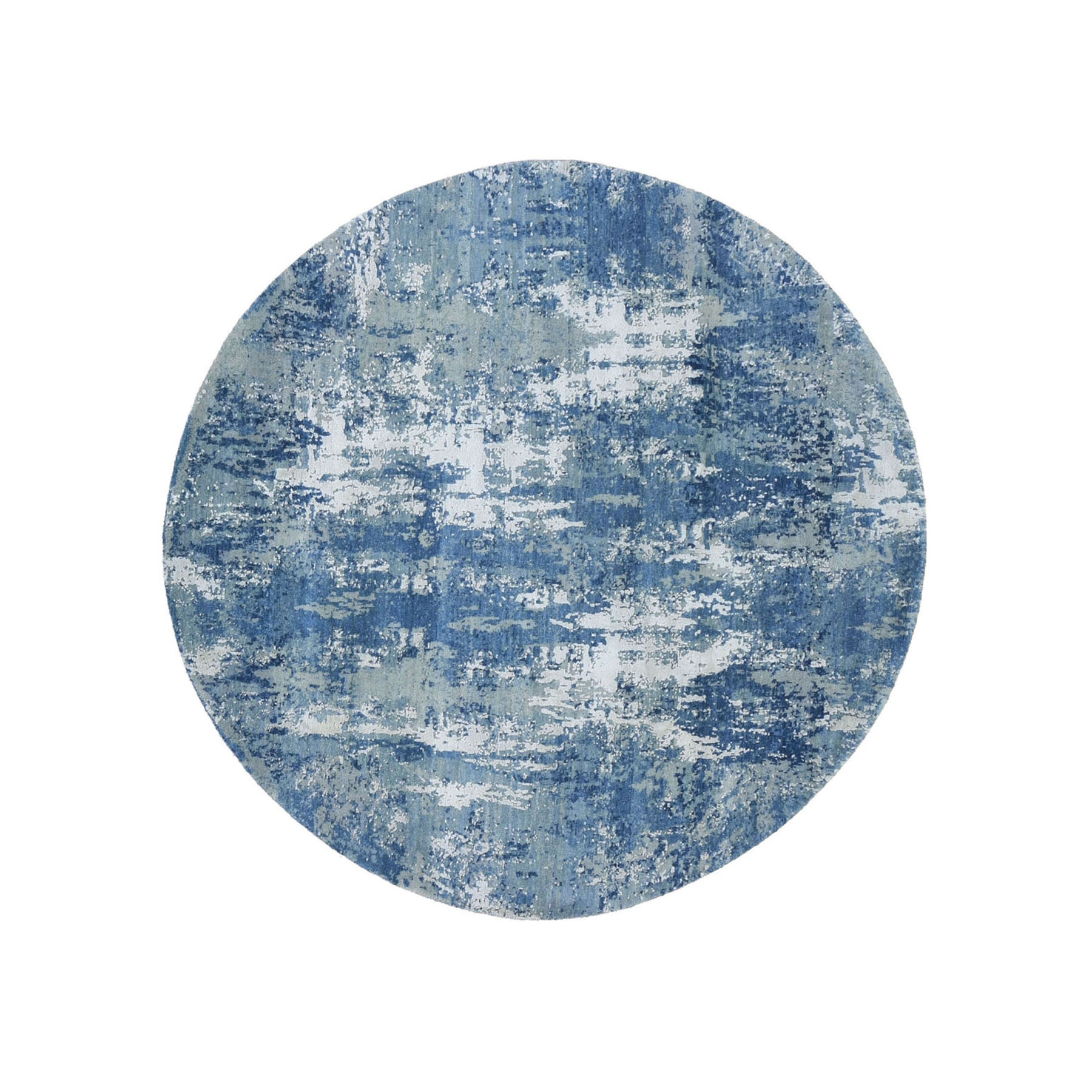 "6'1""X6'1"" Blue Abstract Design Wool And Pure Silk Hand Knotted Round Oriental Rug moad8e07"
