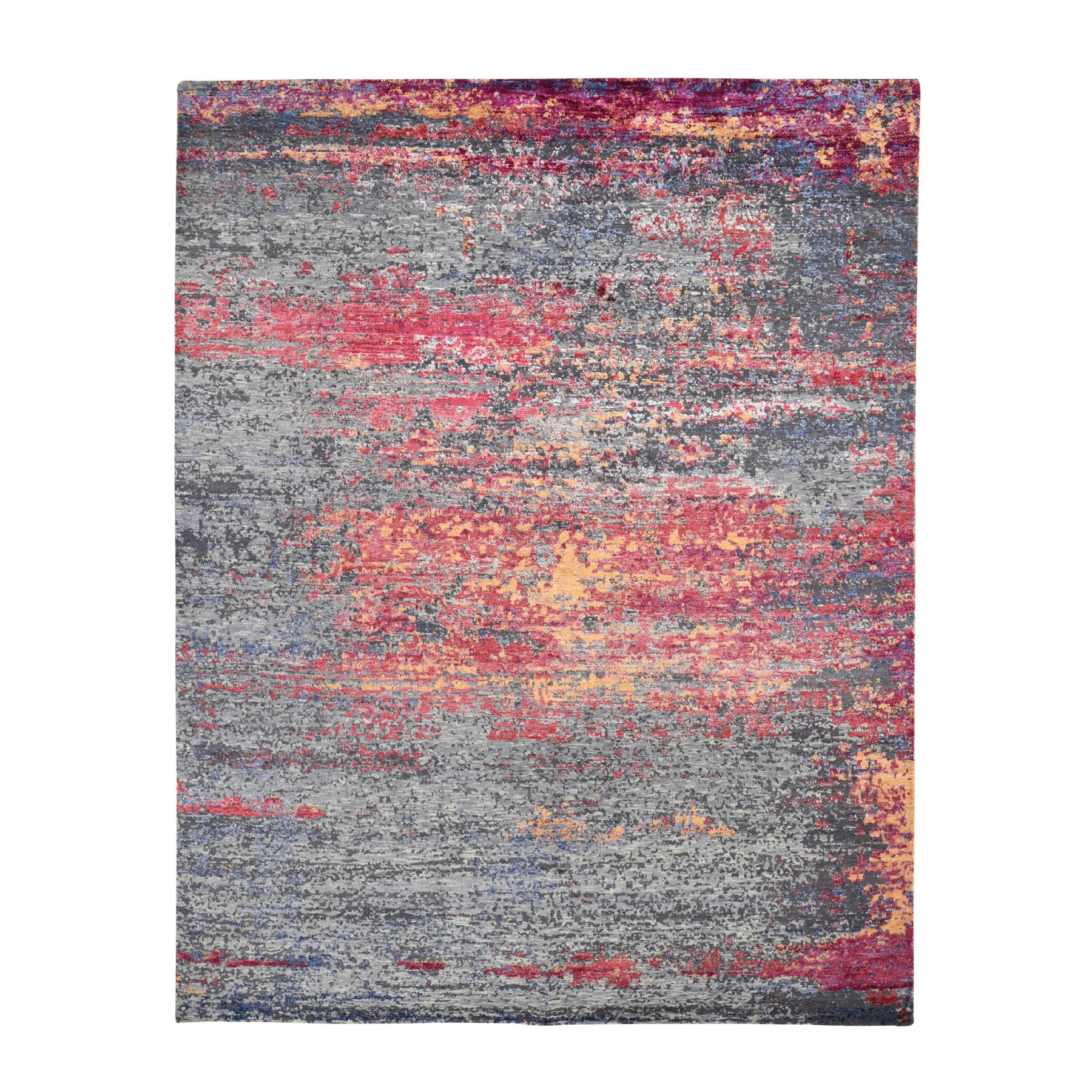 """7'10""""X10' The Sunset Abstract, Silk With Textured Wool Hand Knotted Oriental Rug moad8e09"""