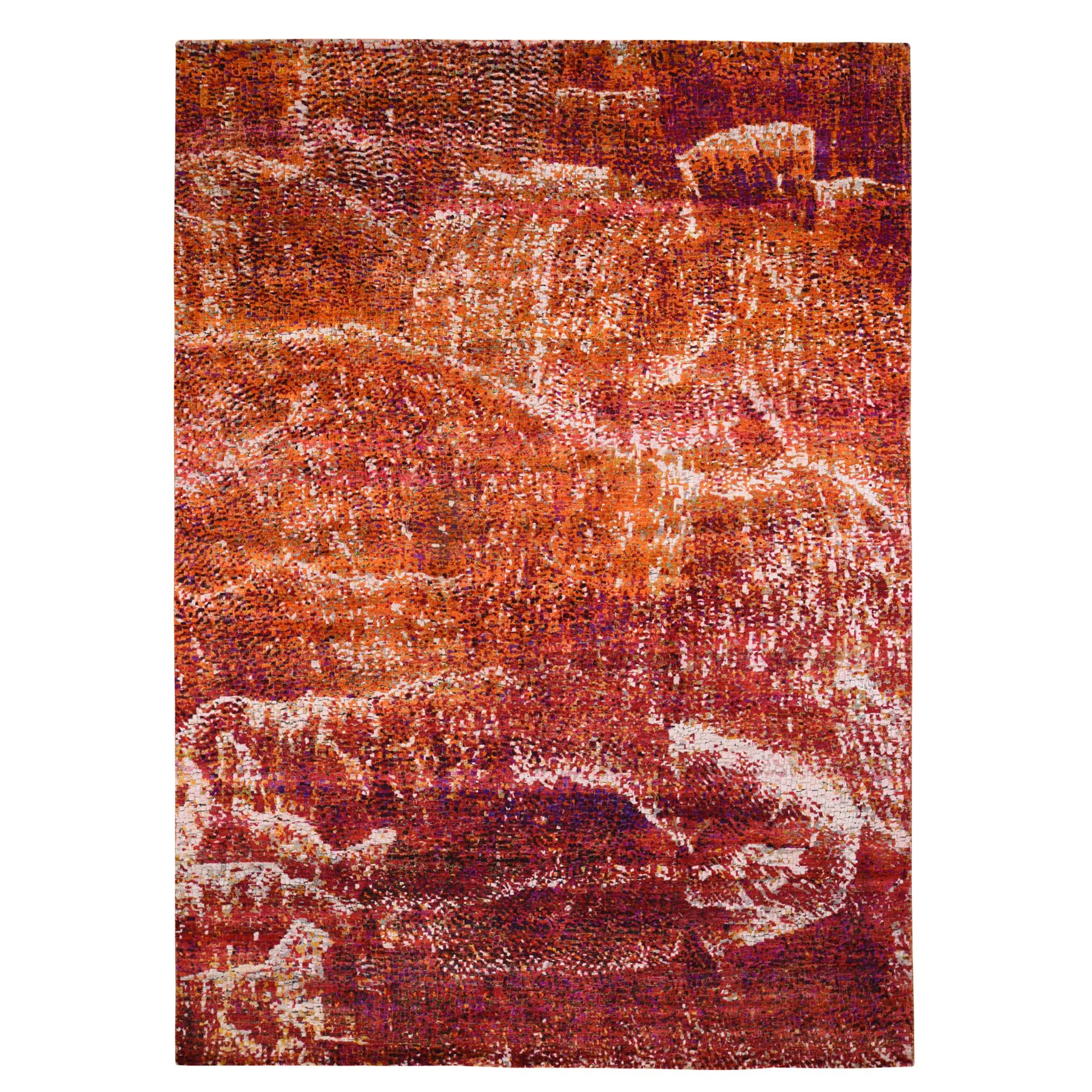 """8'10""""X12' Burnt Orange Mosaic Design Silk With Textured Wool Hand Knotted Oriental Rug moad8eab"""