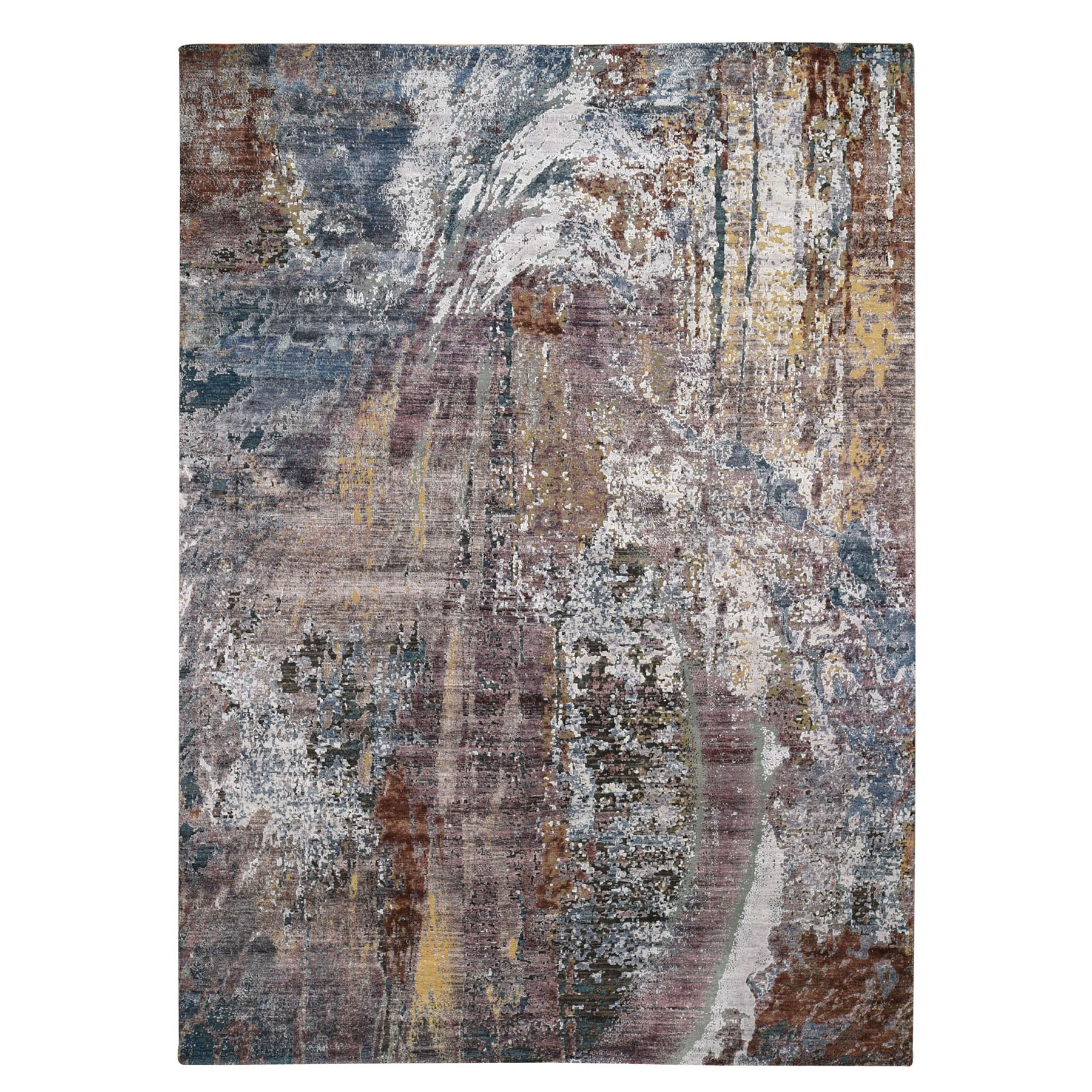 """8'9""""X12' Colorful Abstract Of Painter's Palette Silk With Textured Wool Hand Knotted Oriental Rug moad8eac"""