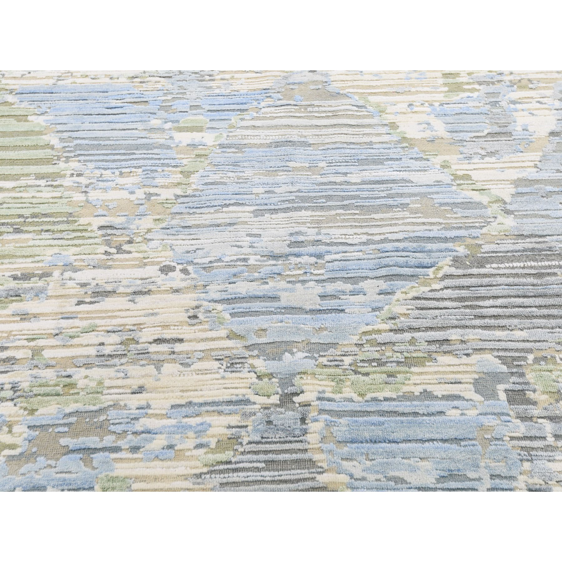 8'x10' THE PASTEL COLLECTION, Silk With Textured Wool Hand Knotted Oriental Rug