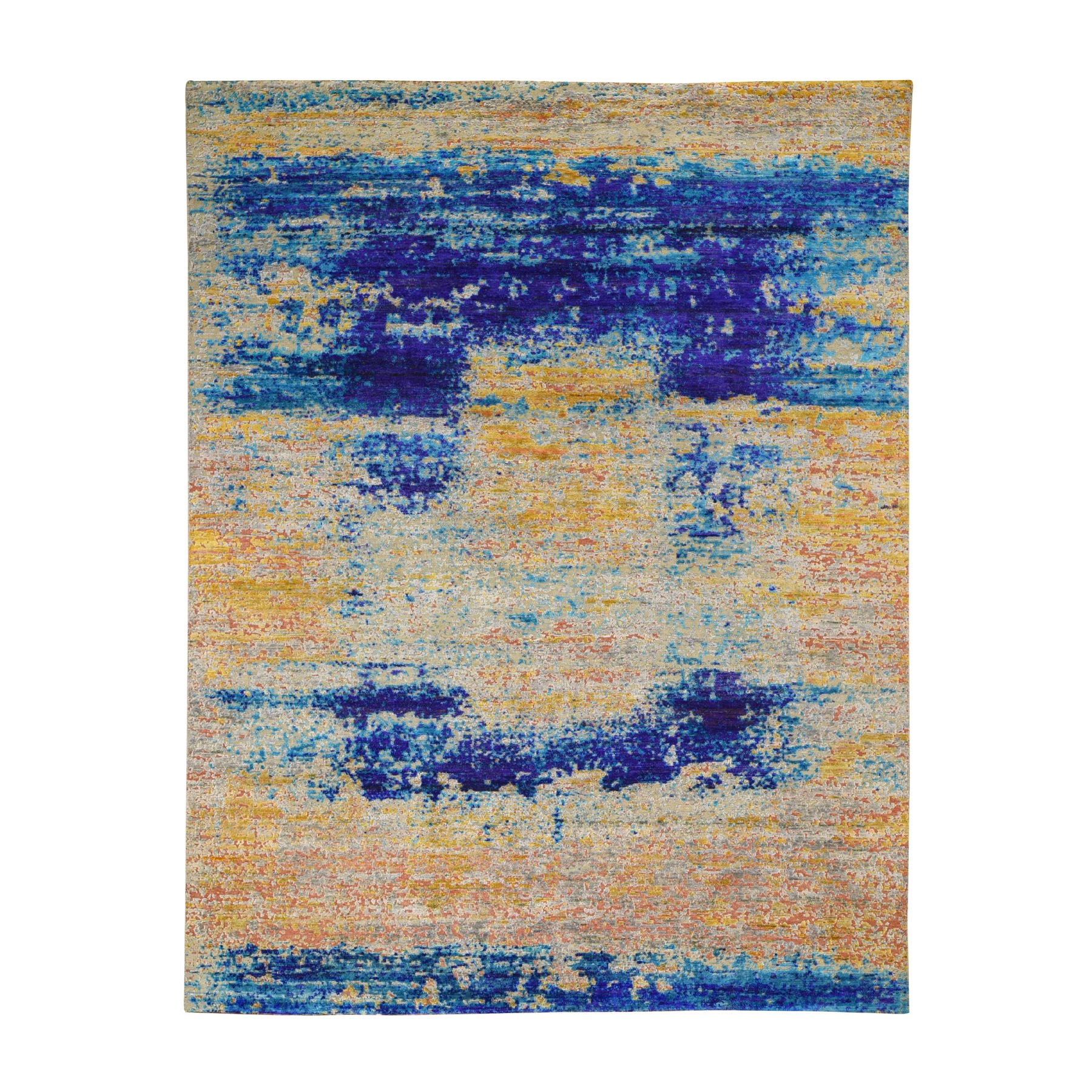 """7'10""""X10' Yellow Sari Silk With Textured Wool Abstract Hand Knotted Oriental Rug moad8ea6"""