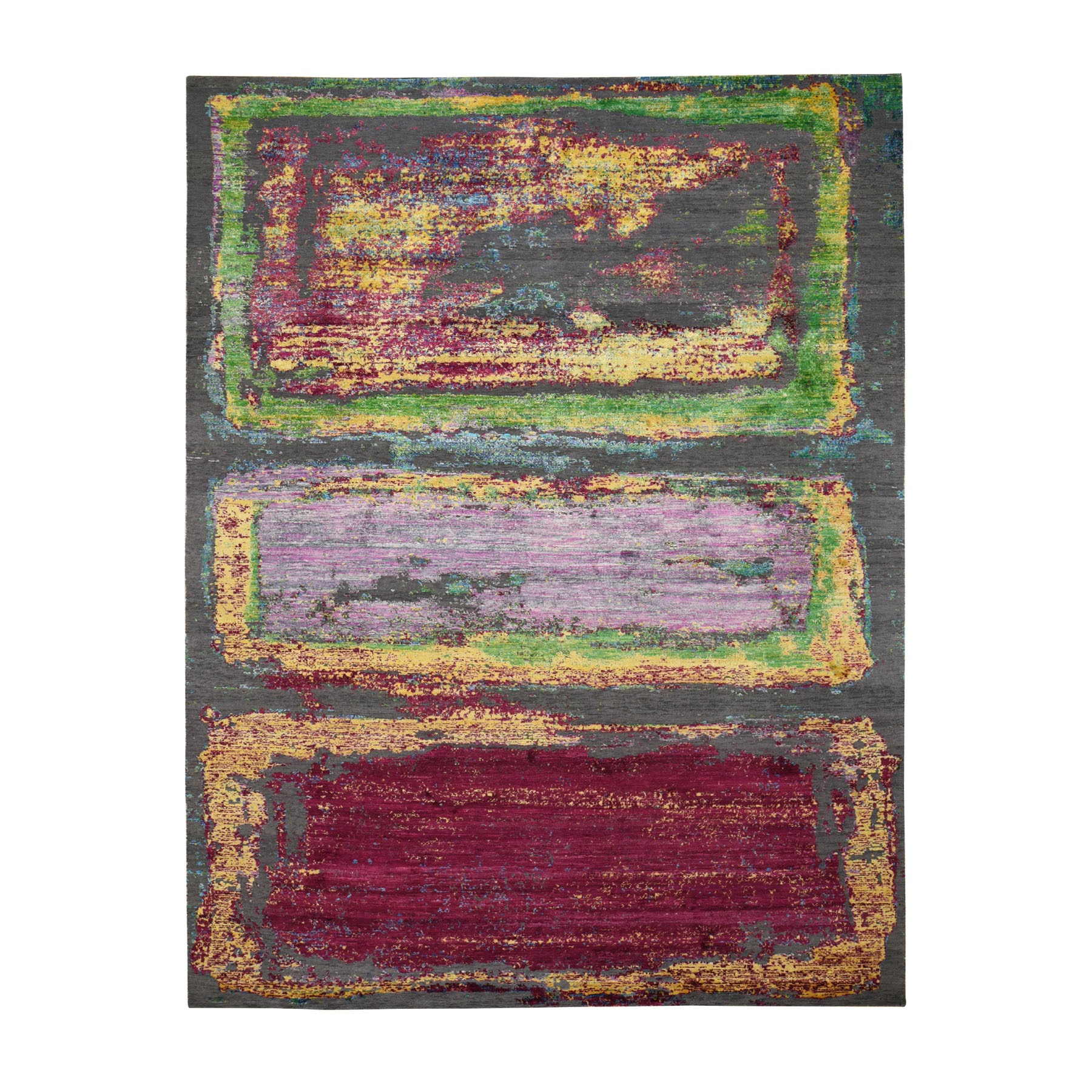 """8'10""""X12' Rothko Inspired Sari Silk With Textured Wool Hand Knotted Oriental Rug moad8ea7"""