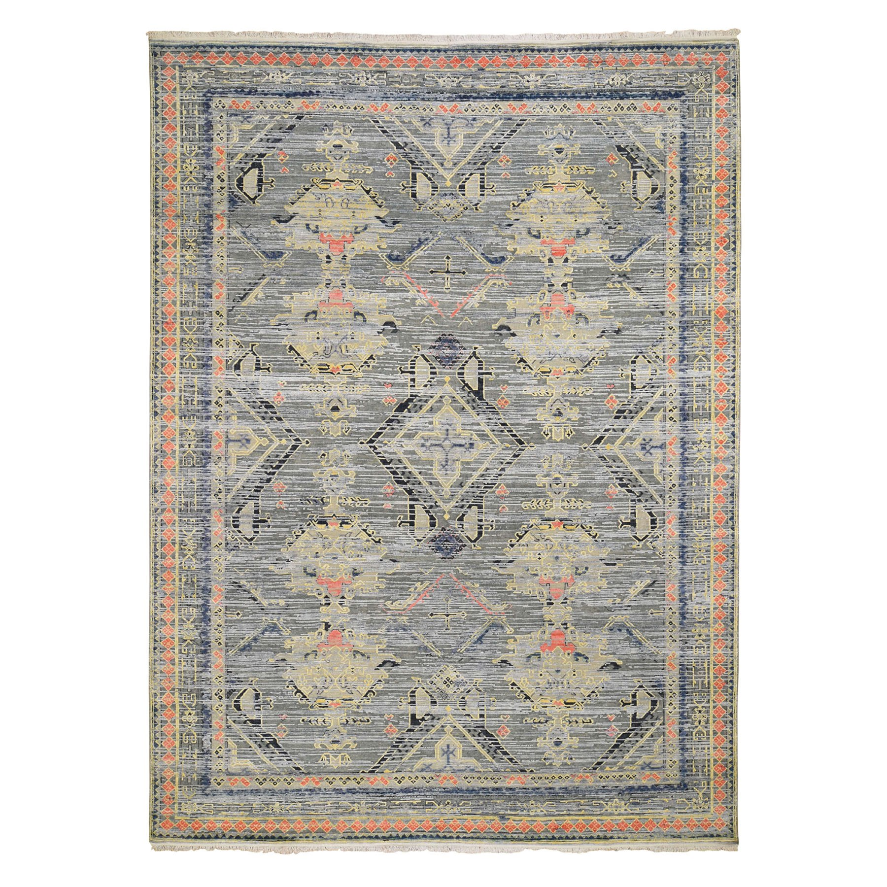 "8'10""x12'3"" Silk With Textured Wool Geometric Colorful Oushak Hand Knotted Oriental Rug"