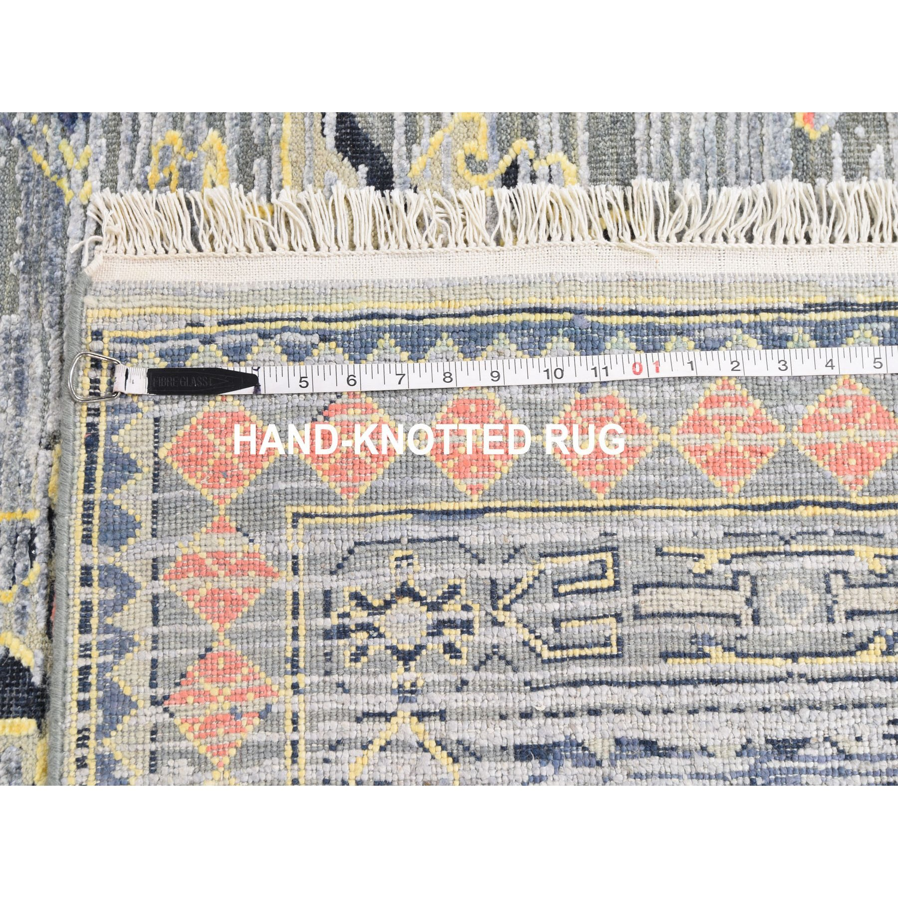 """8'10""""x12'3"""" Silk With Textured Wool Geometric Colorful Oushak Hand Knotted Oriental Rug"""