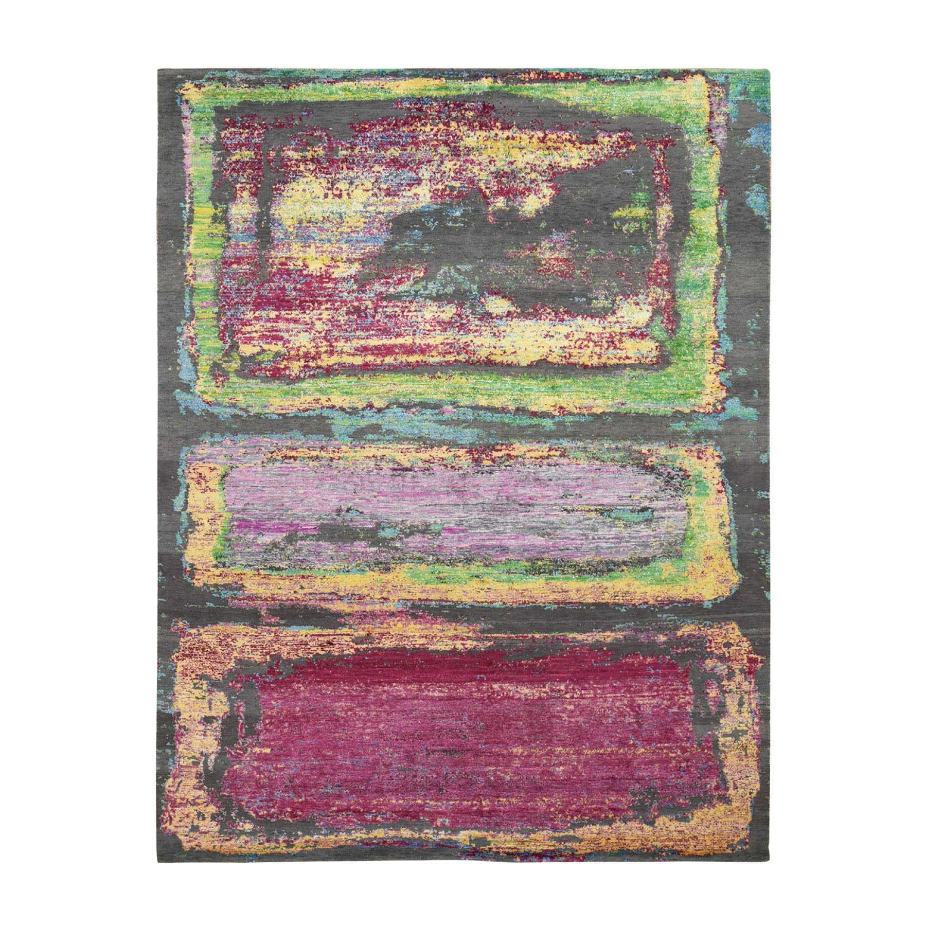 """8'X9'10"""" Rothko Inspired Sari Silk With Textured Wool Hand Knotted Oriental Rug moad8ebb"""