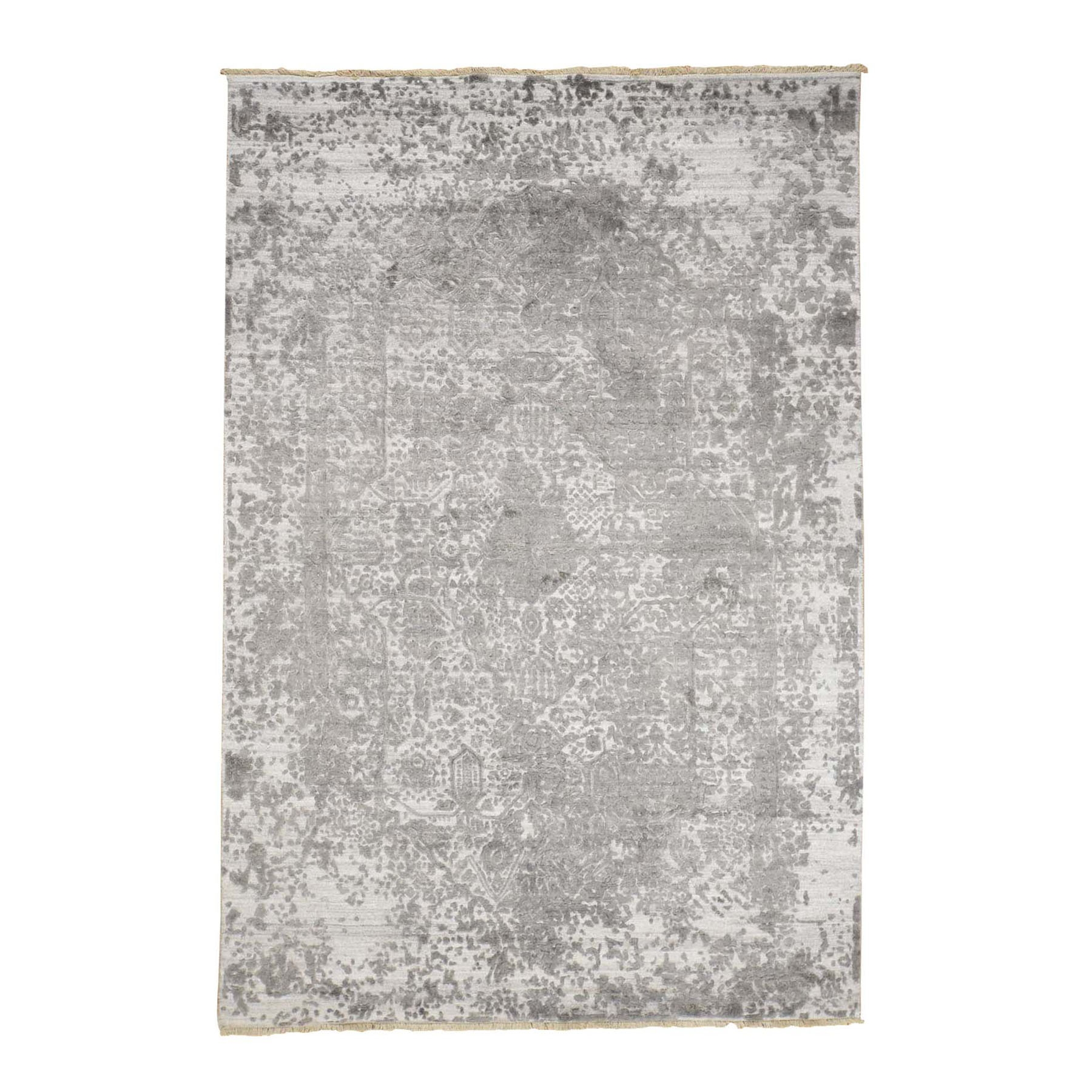 """6'x9'1"""" Broken Persian Design Wool And Pure Silk Grey Hand Knotted Oriental Rug 48525"""