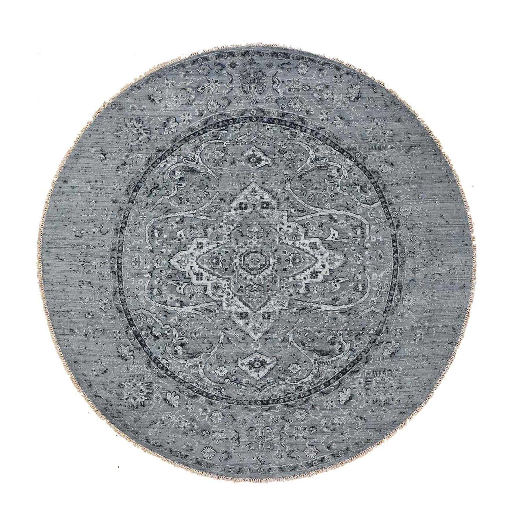 "9'10""X9'10"" Round Gray Broken Persian Erased Design Pure Silk With Textured Wool Hand-Knotted Oriental Rug moad8eb7"