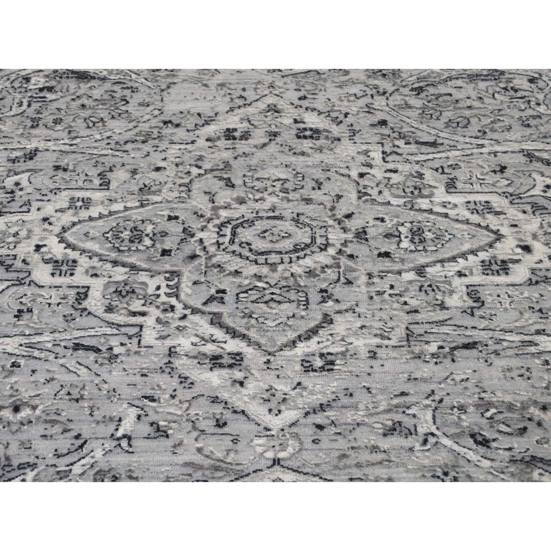 "9'10""x9'10"" Round Gray Broken Persian Erased Design Pure Silk With Textured Wool Hand-Knotted Oriental Rug"