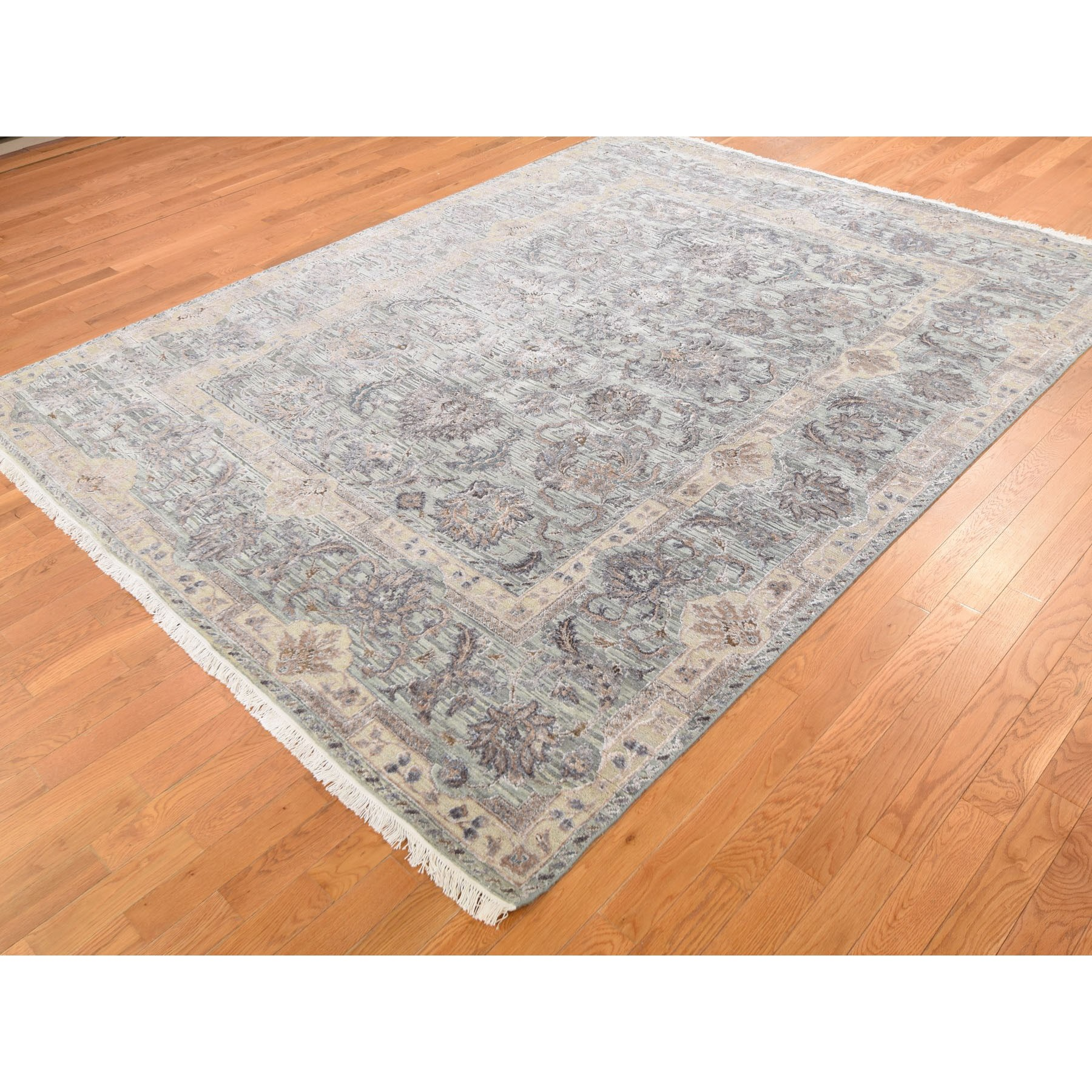 "7'10""x10' Light Green Pure Silk With Textured Wool Mughal Design Hand Knotted Oriental Rug"