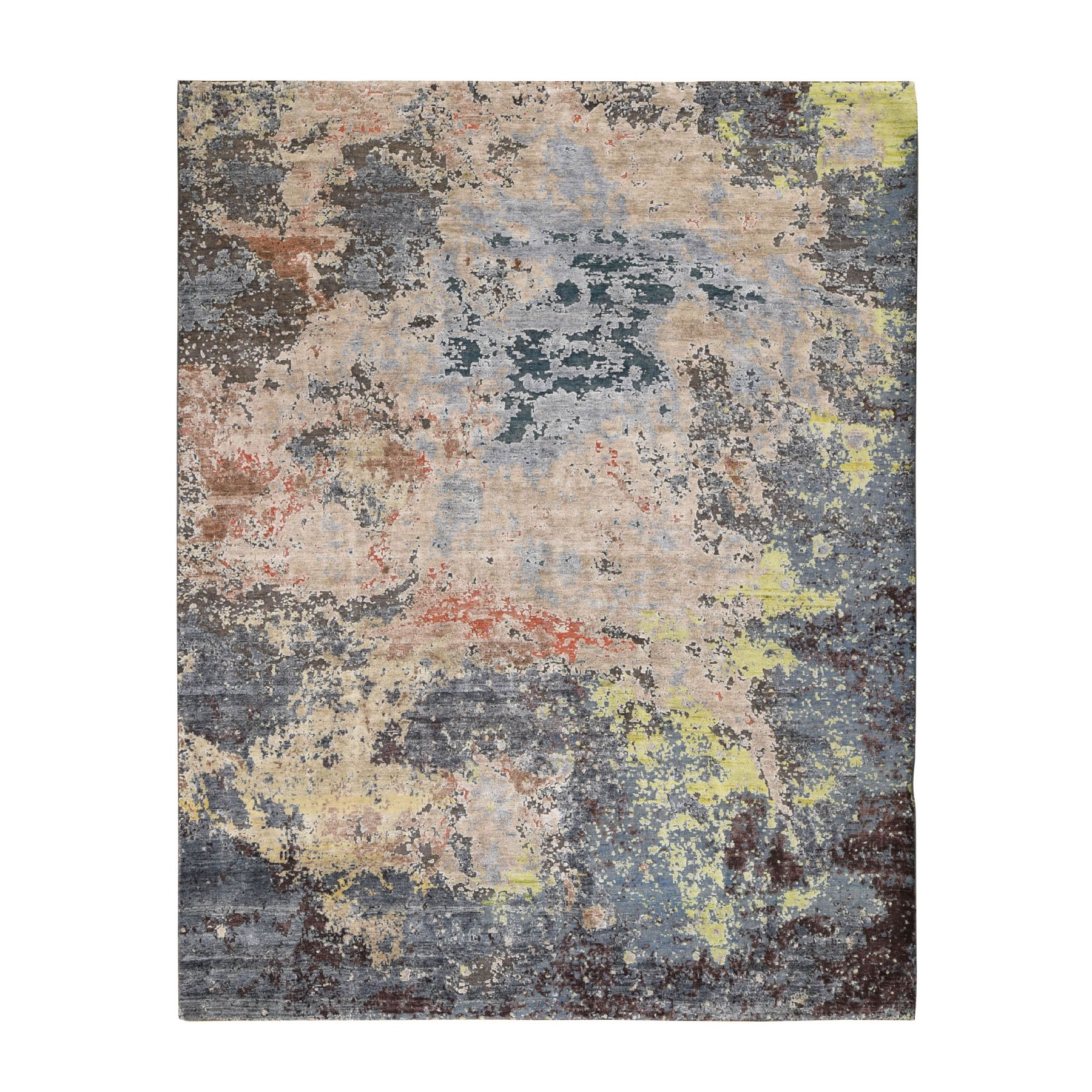"7'10""X10'1"" Wool And Silk Hi-Low Pile Modern Abstract Design Hand Knotted Oriental Rug moad8ecc"