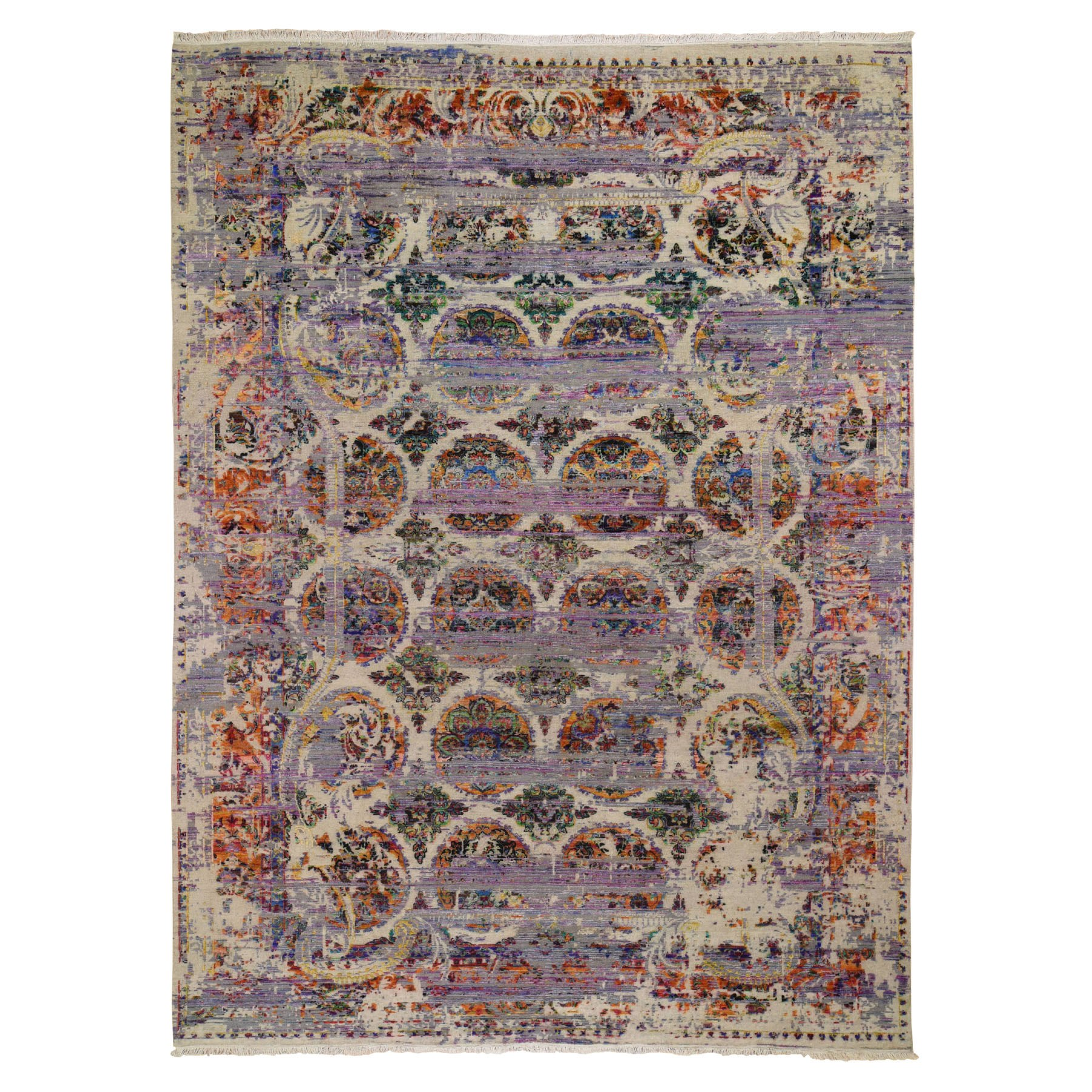 9'X12' Erased Rossets, Colorful Sari Silk With Textured Wool Hand Knotted Oriental Rug moad8ec7