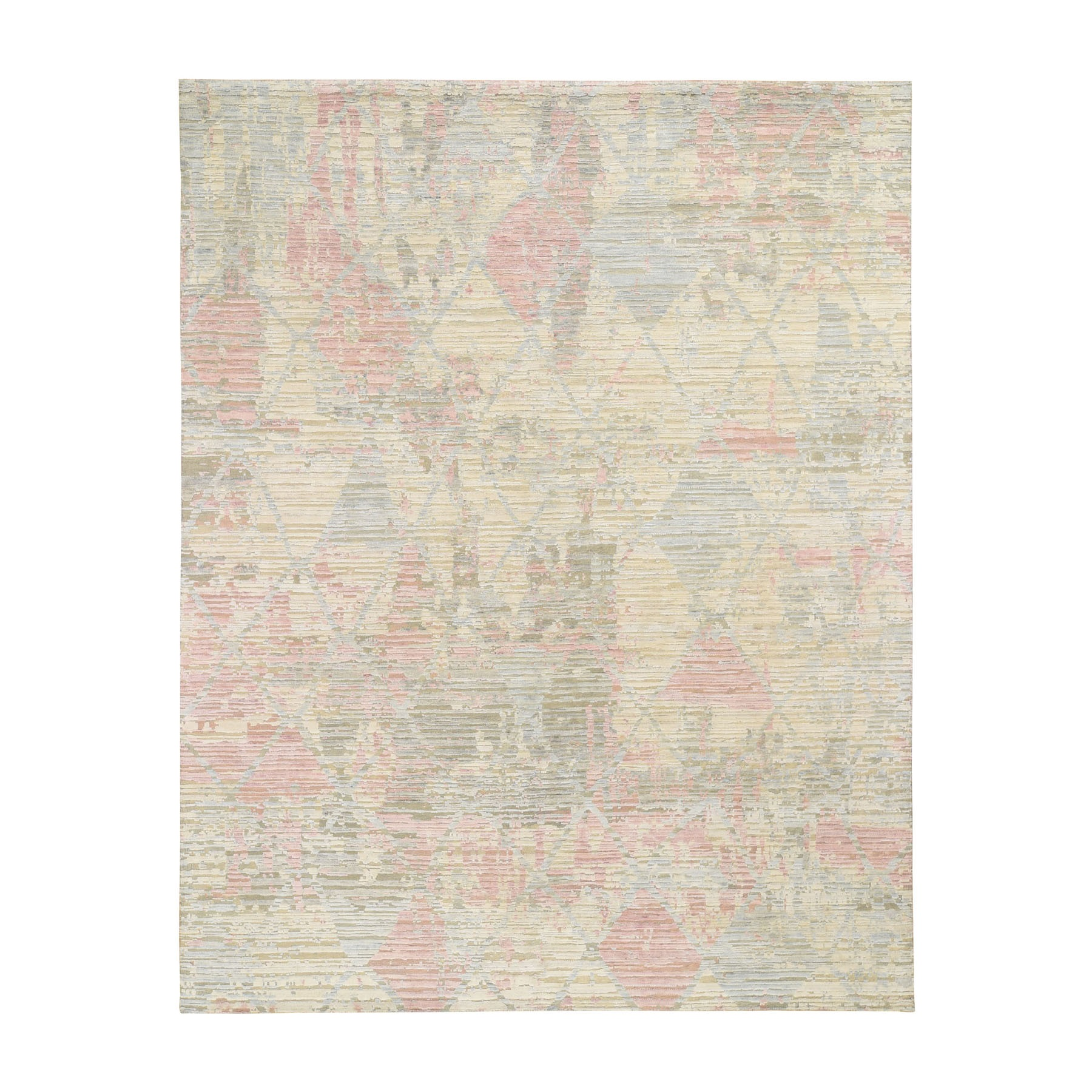 "8'X10'2"" The Pastel Collection, Silk With Textured Wool Hand Knotted Oriental Rug moad8ec9"
