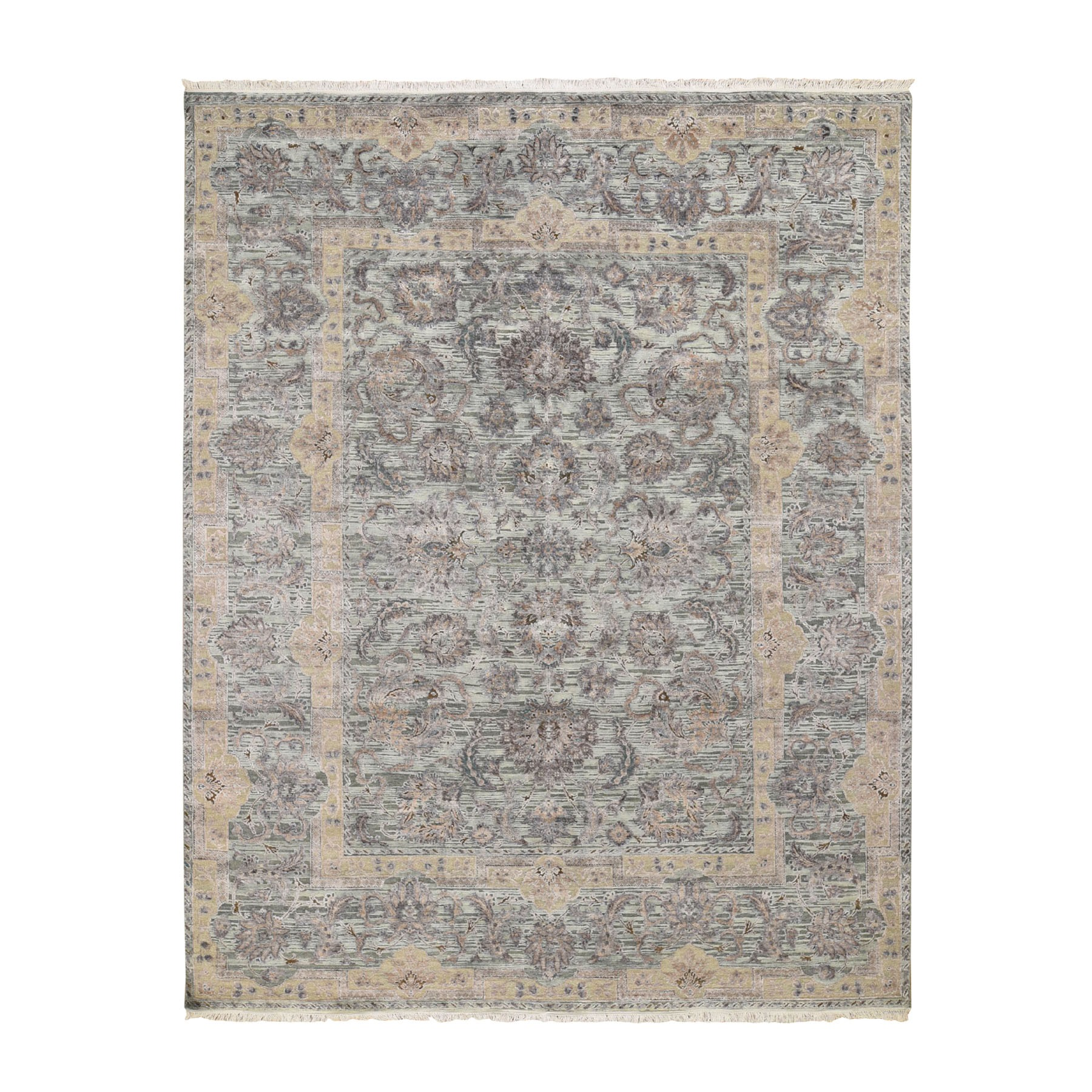 "7'10""X10'2"" Light Green Pure Silk With Textured Wool Mughal Design Hand Knotted Oriental Rug moad8ed0"